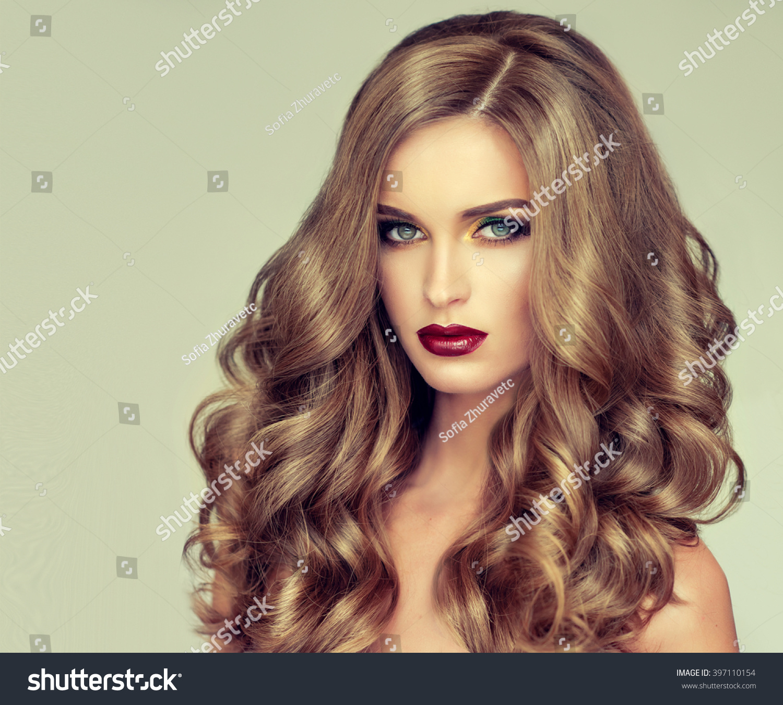 beautiful long wavy hair fairhaired stock photo 397110154