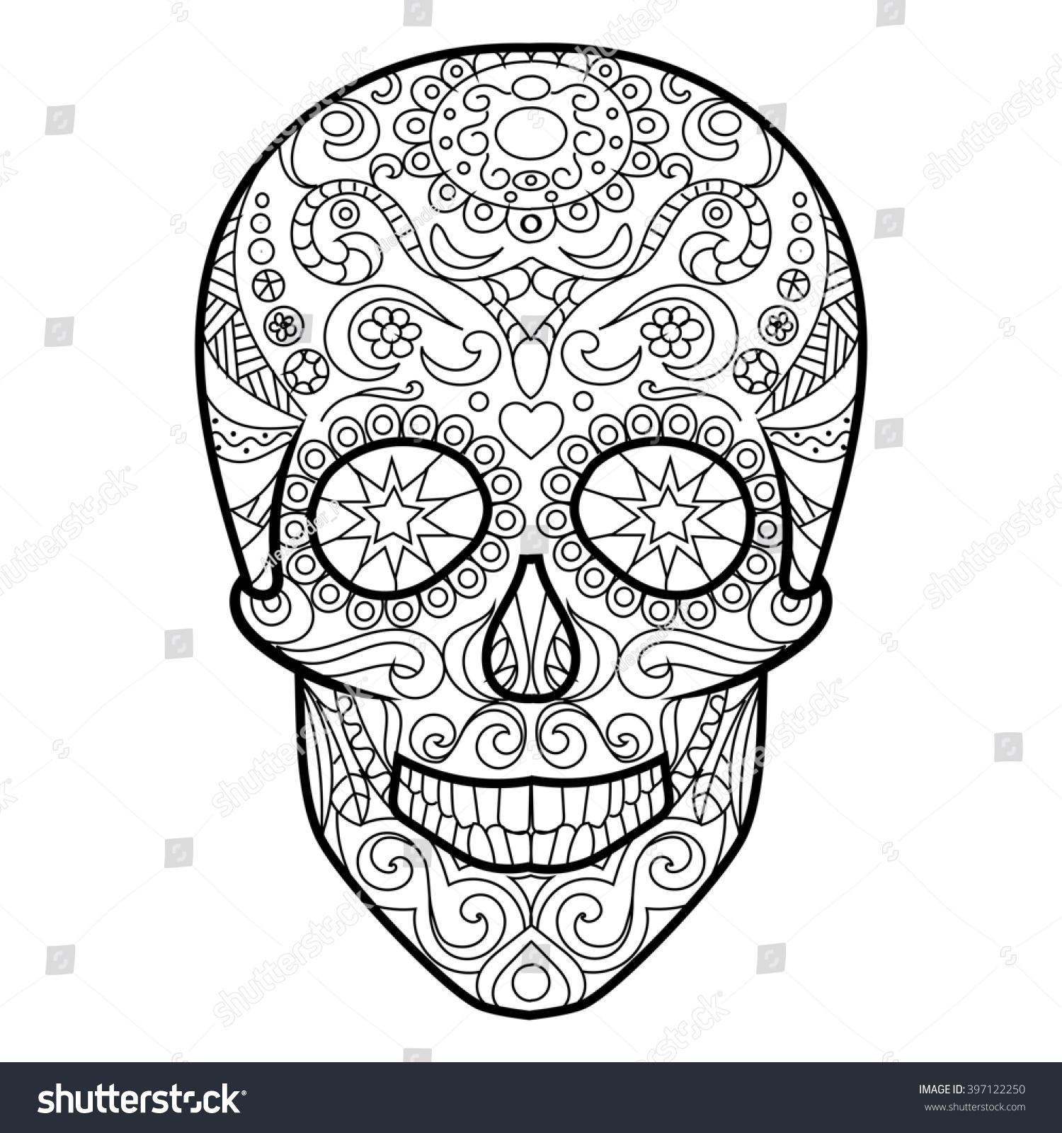 hunan skull coloring book adults raster stock illustration - Cinco De Mayo Skull Coloring Pages