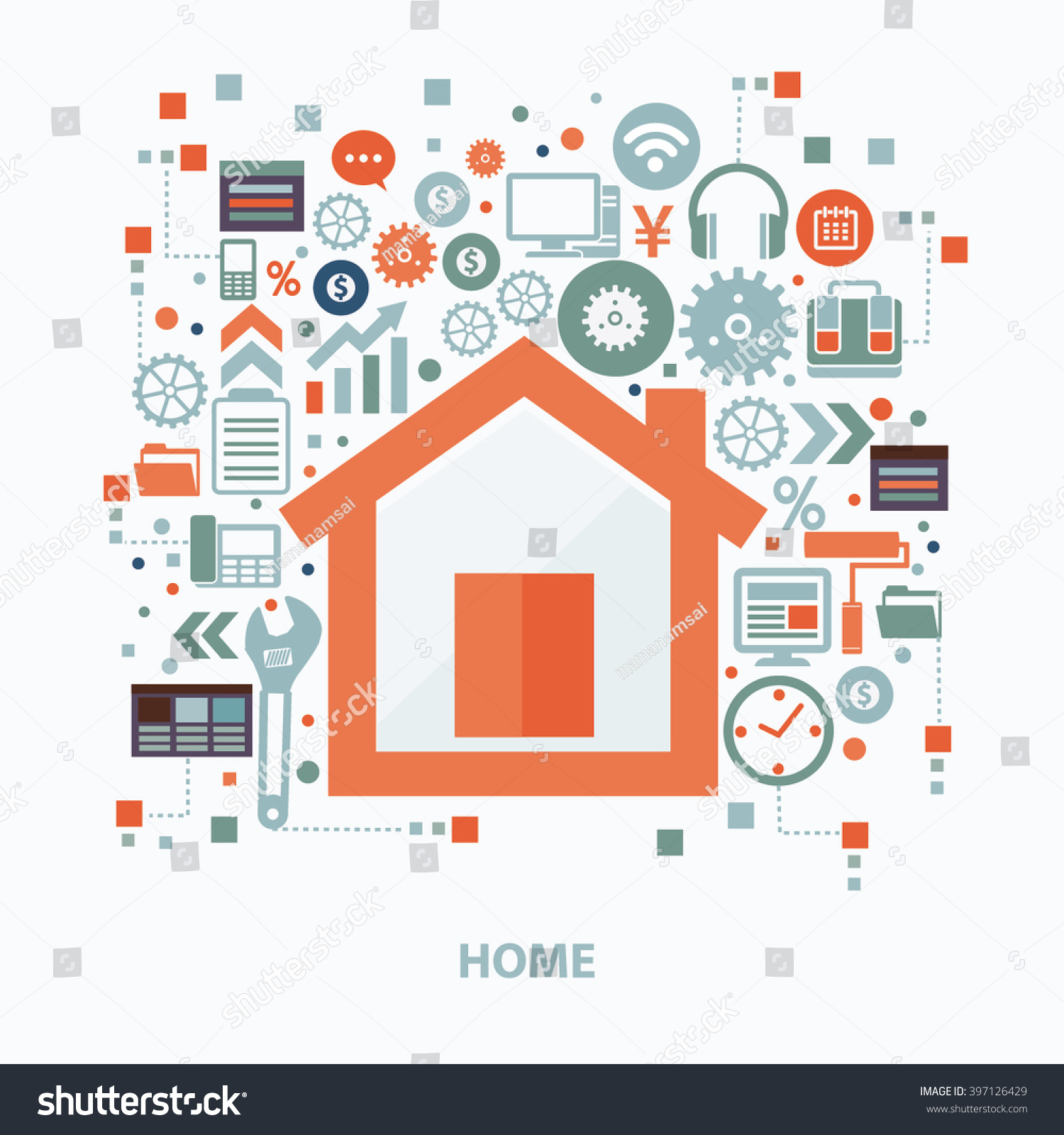 Home Concept Design On Clean Backgroundvector Stock Vector ...