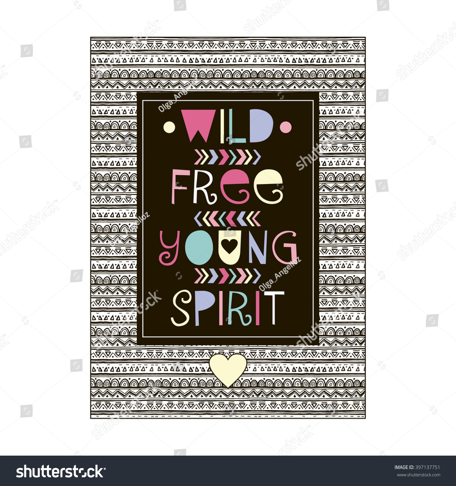 Aaa Quote Wild Free Young Spirit Quote Design Stock Vector 397137751