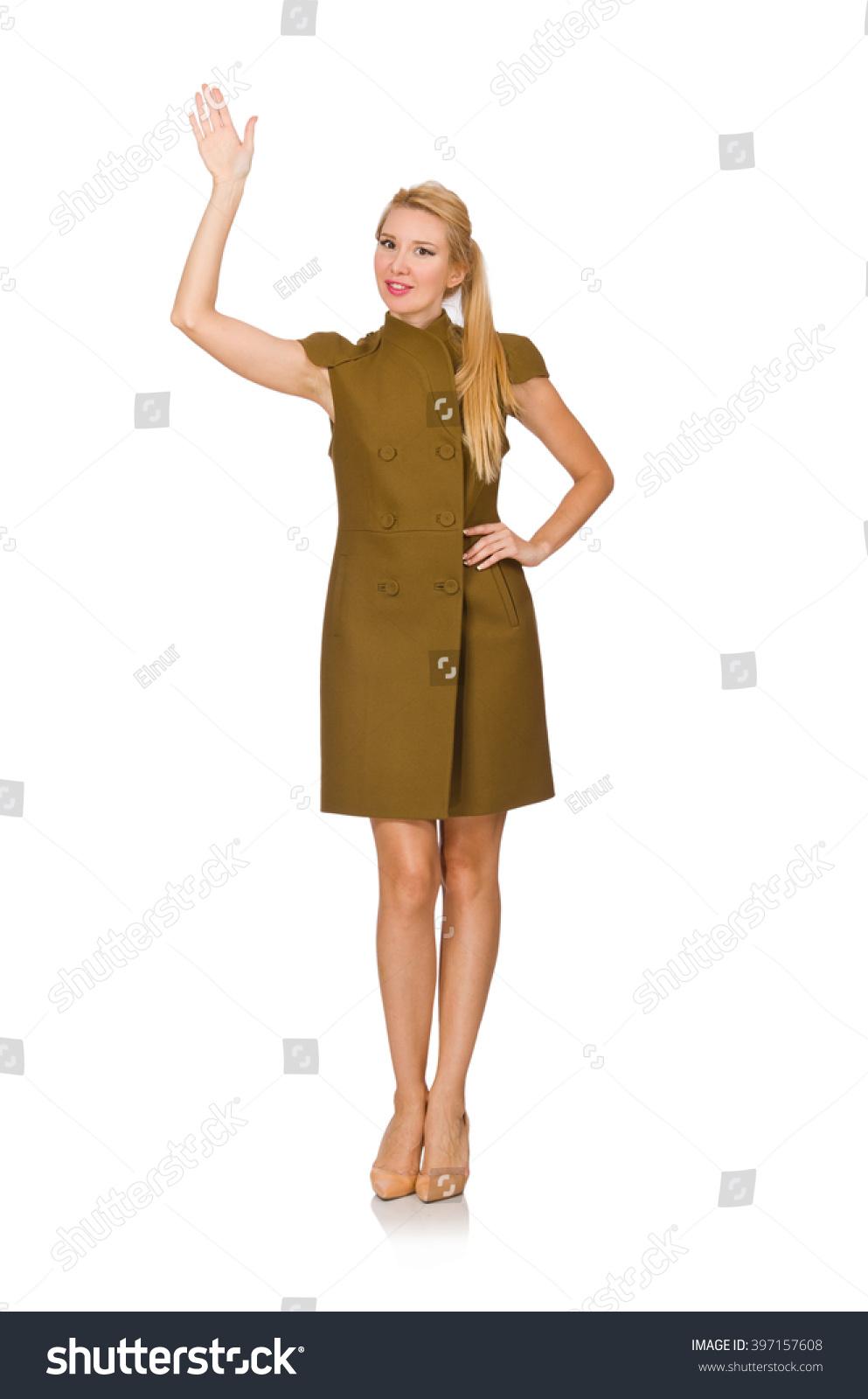 Tall Caucasian Model Green Dress Isolated Stock Photo ...