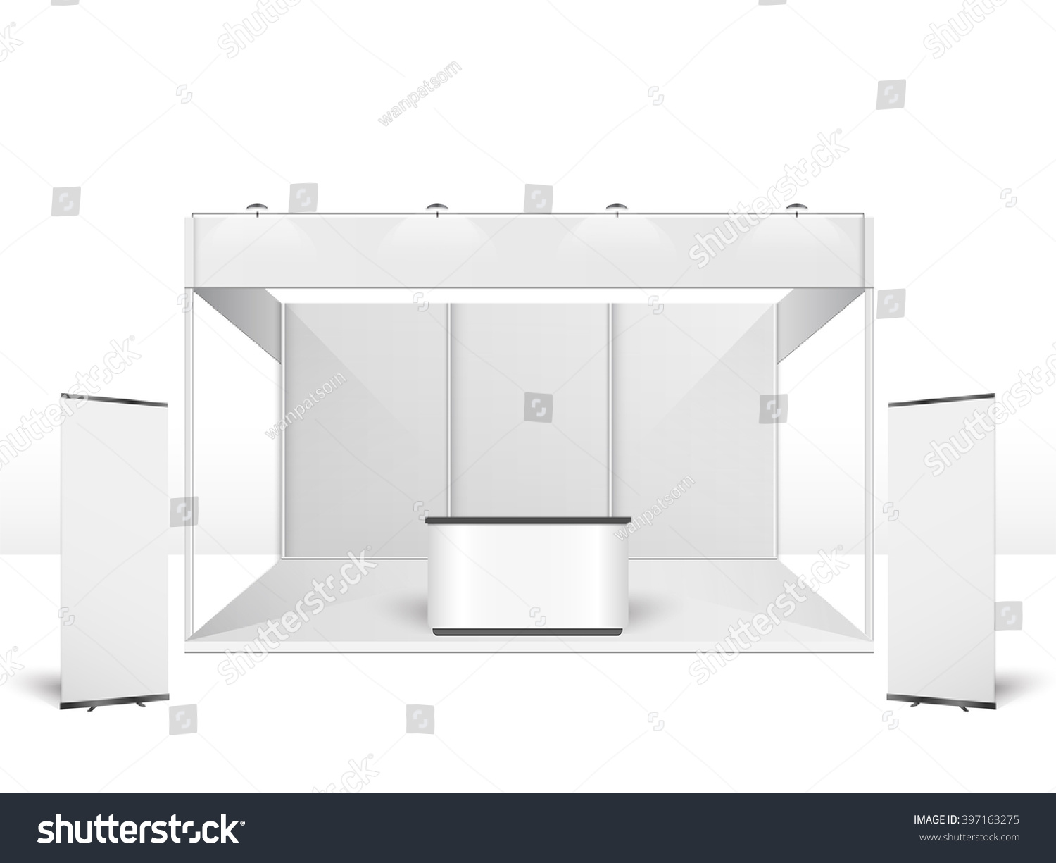 Exhibition Stand Design Template : White creative exhibition stand design booth stock vector