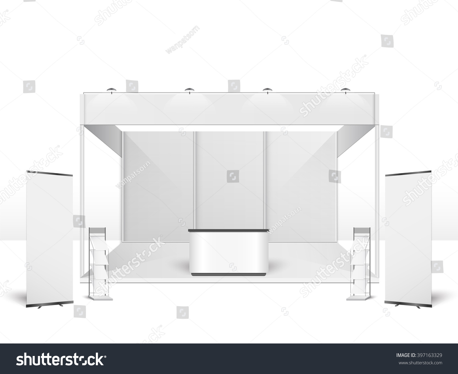 Exhibition Stand Vector : White creative exhibition stand design booth stock vector