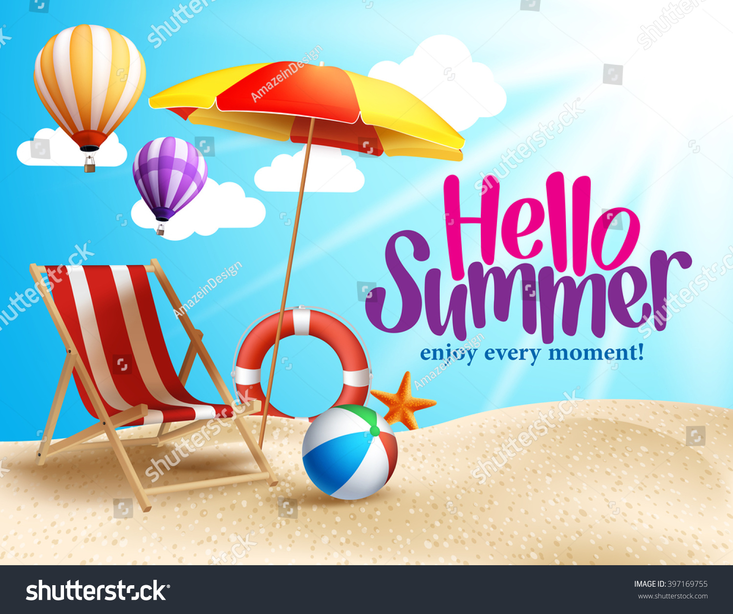 Summer Beach Vector Design In The Seashore With Umbrella And Chair Background