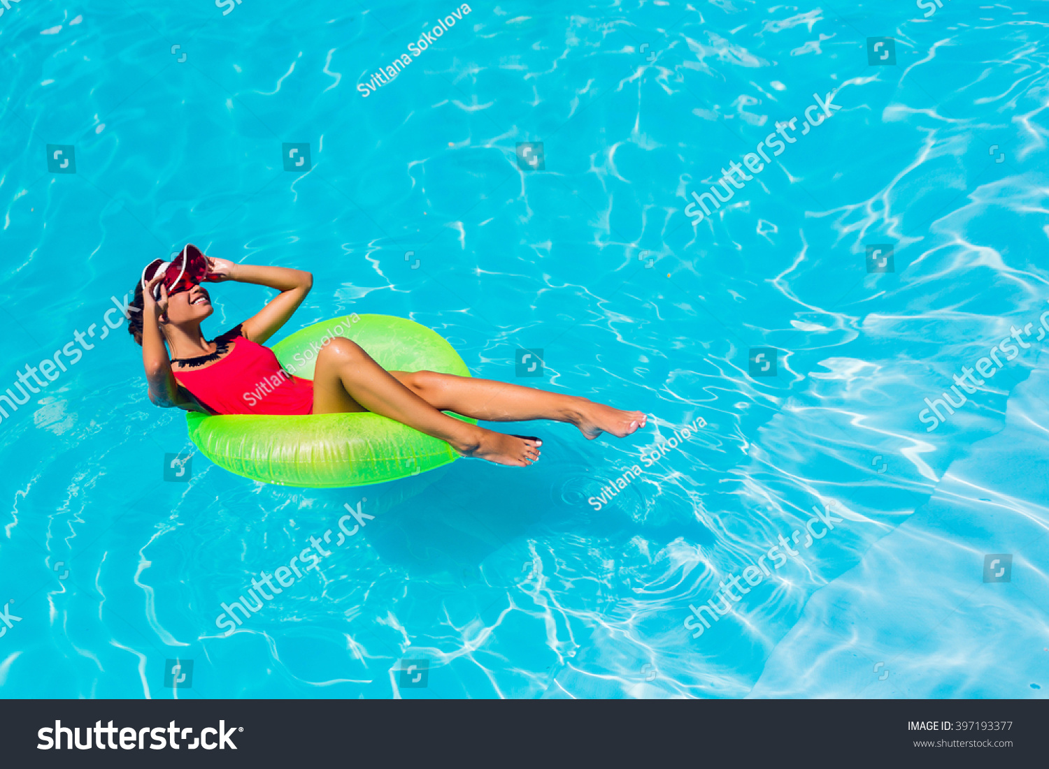 Sexy Tanned Woman Red Swimsuit Having Photo Libre De Droits 397193377 - Shutterstock-1744