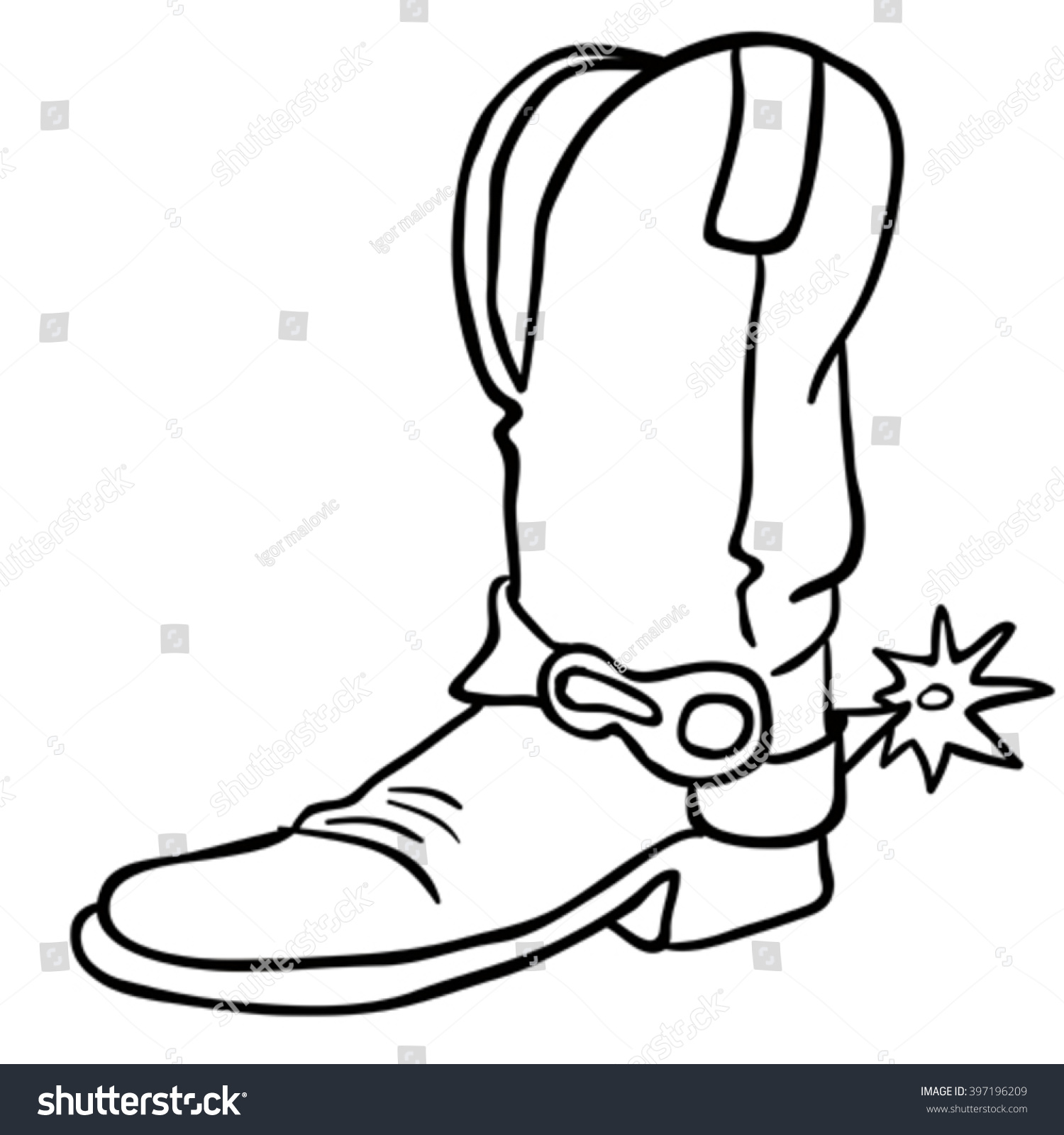 Simple Black White Cowboy Boot Stock Vector 397196209 - Shutterstock