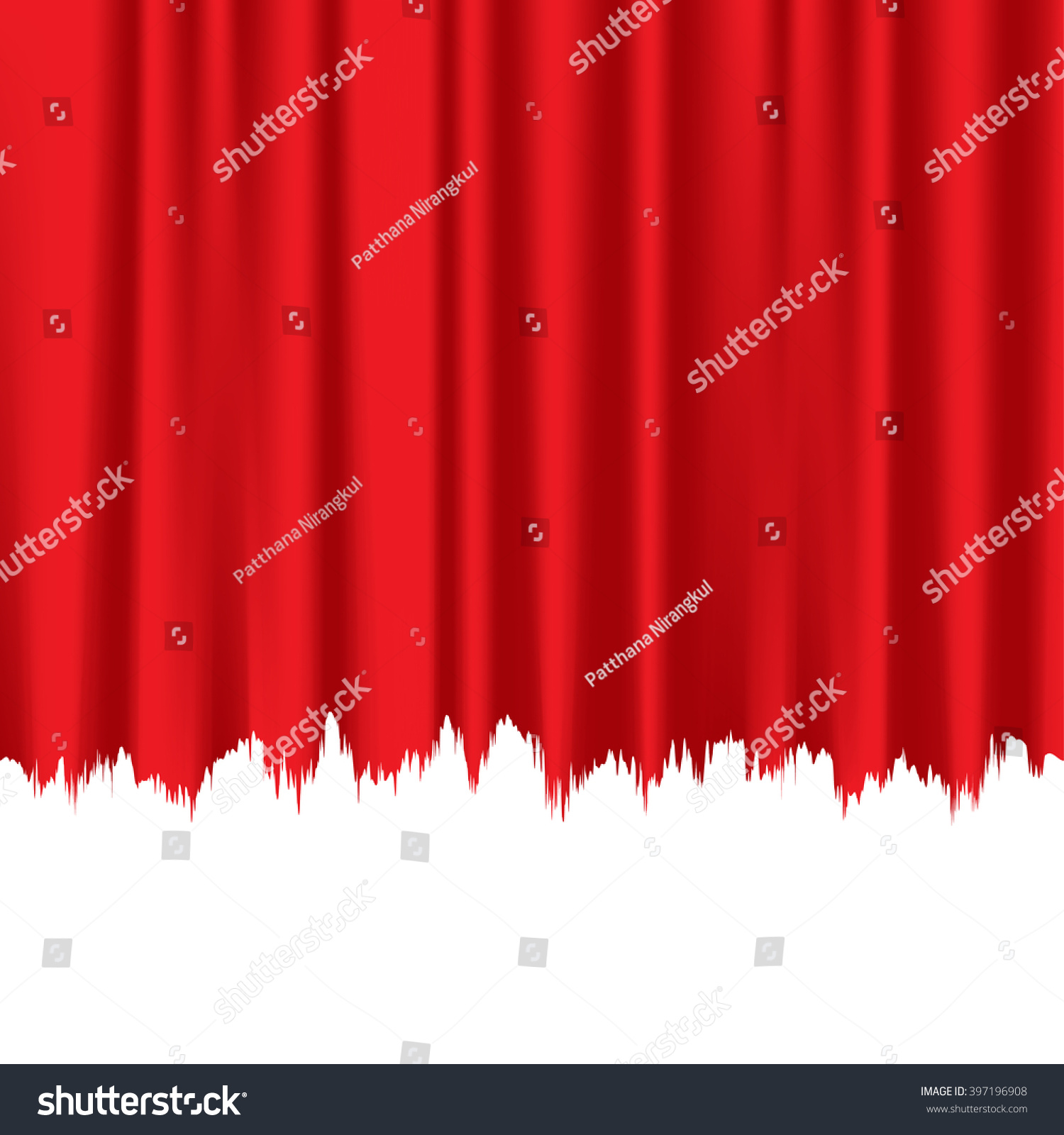 Red fabric curtain torn white space stock vector 397196908 for Space curtain fabric