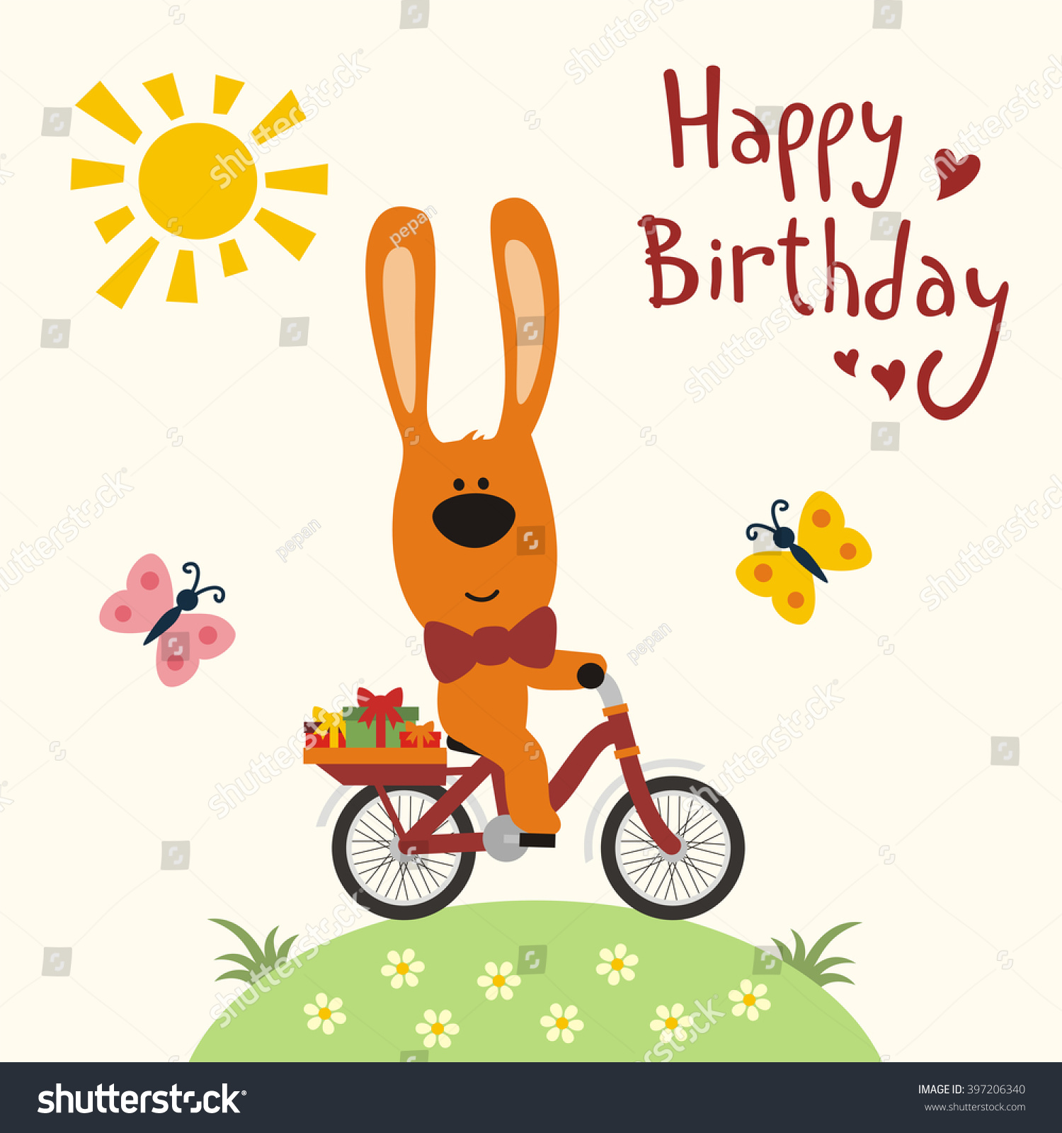 Happy birthday funny rabbit on bicycle stock vector 397206340 happy birthday funny rabbit on bicycle with birthday gifts butterflies sun happy negle Image collections