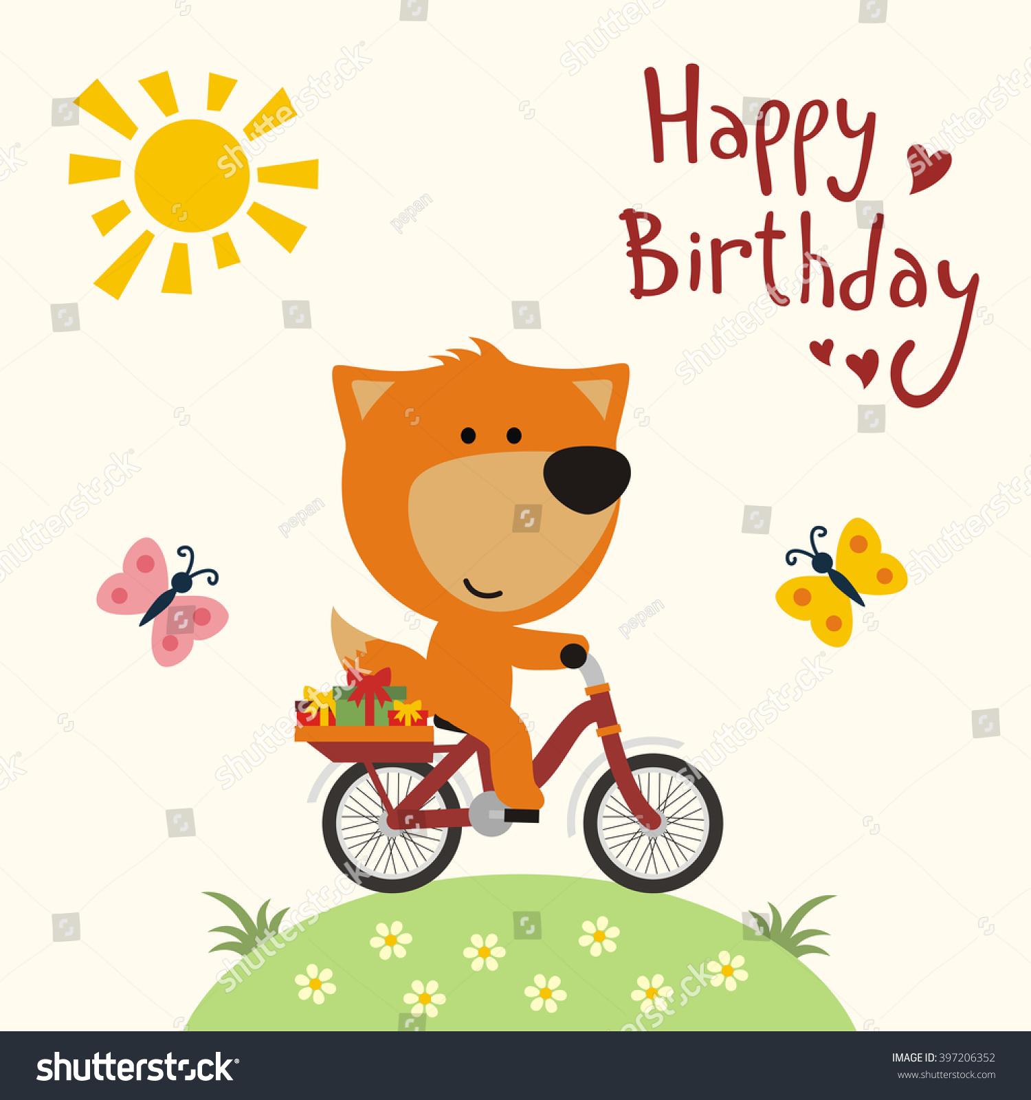 Happy Birthday Funny Fox Bicycle Stock Vector