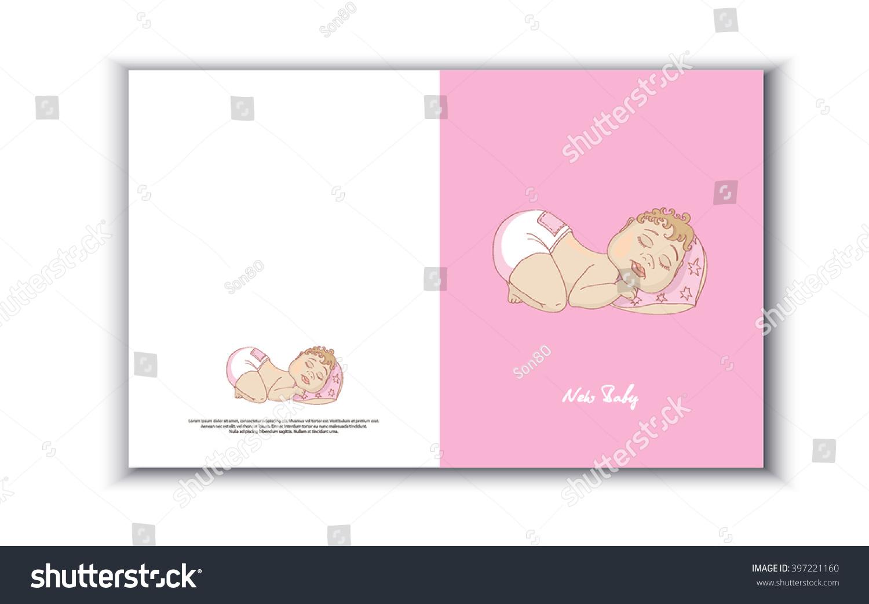 Childrens card newborn baby girl greeting stock vector 397221160 childrens card with newborn baby girl greeting card with newborn baby girl newborn vector m4hsunfo