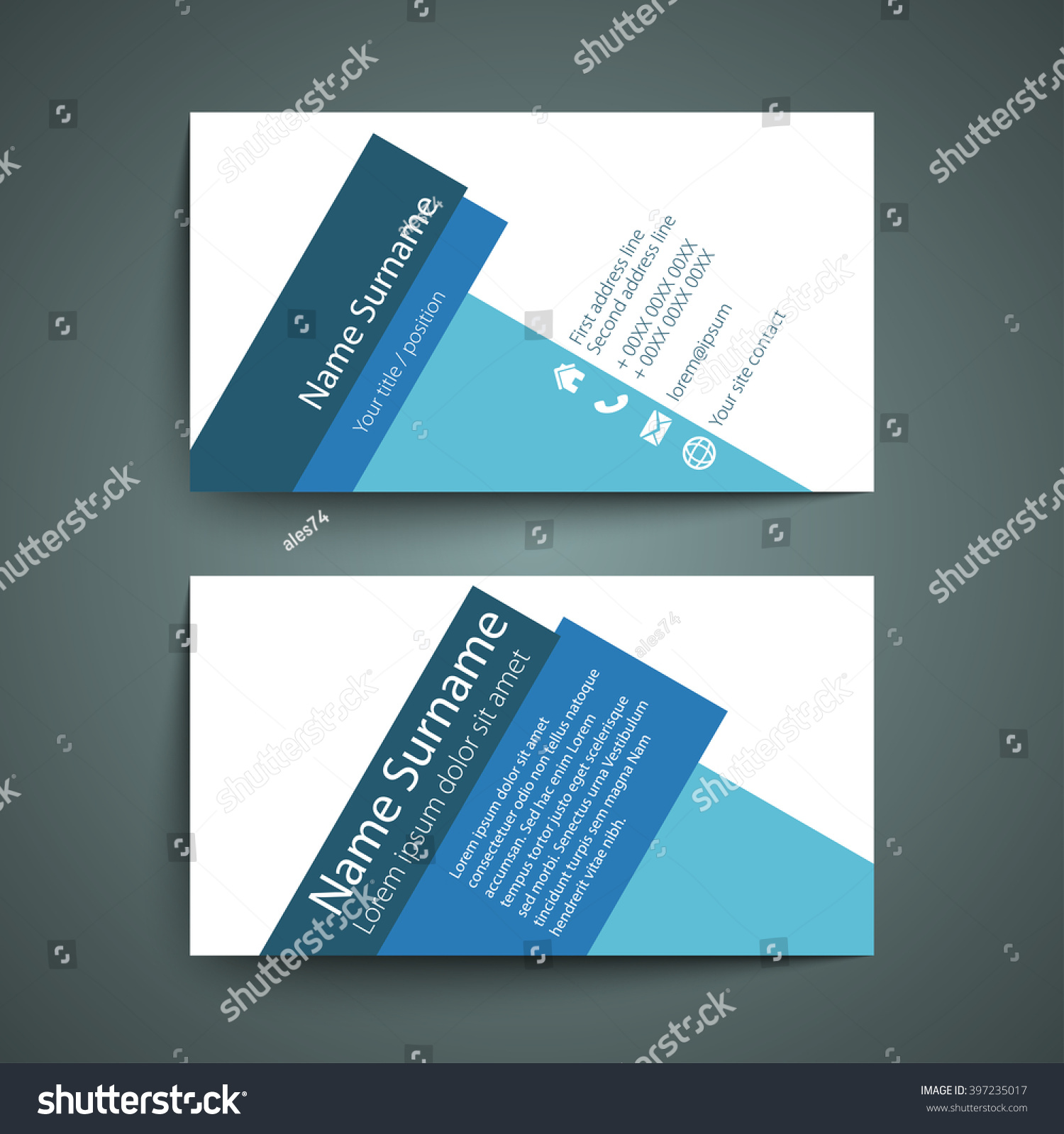 Modern simple business card set template stock vector royalty free modern simple business card set template or visiting card vector illustration colourmoves
