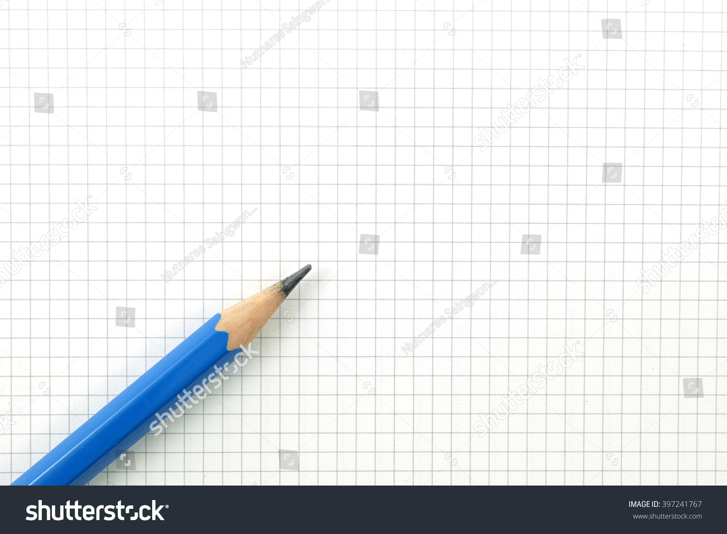 royalty free pencil on drafting paper or graph paper 397241767
