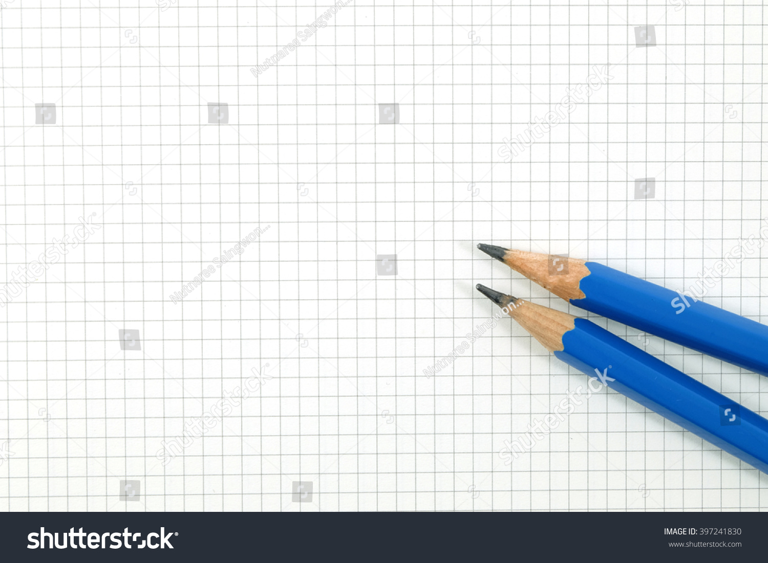 royalty free pencil on drafting paper or graph paper 397241830