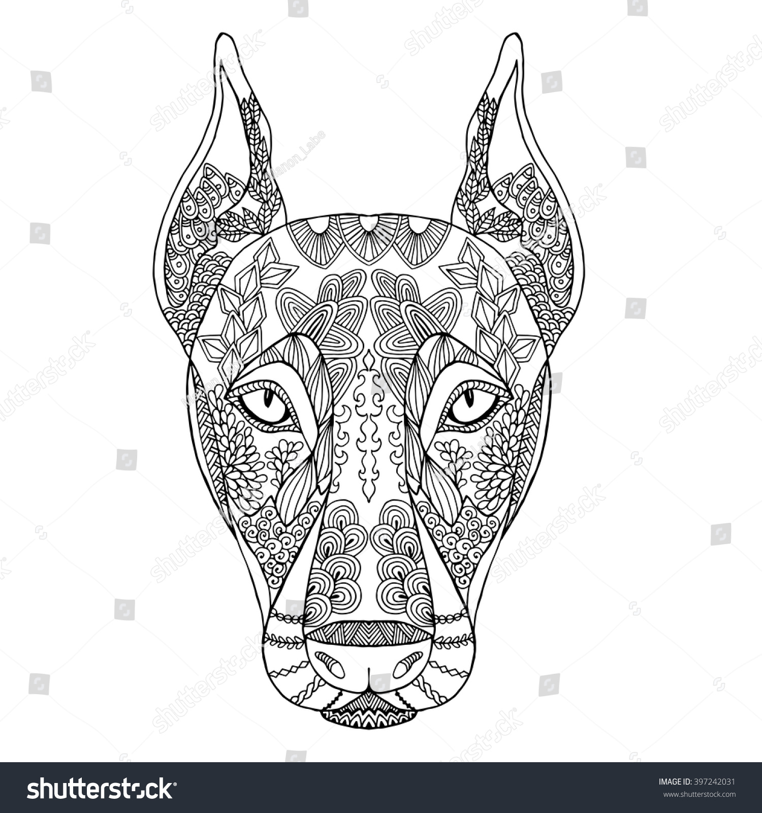 Royalty free zentangle stylized doodle vector of for Doberman coloring pages