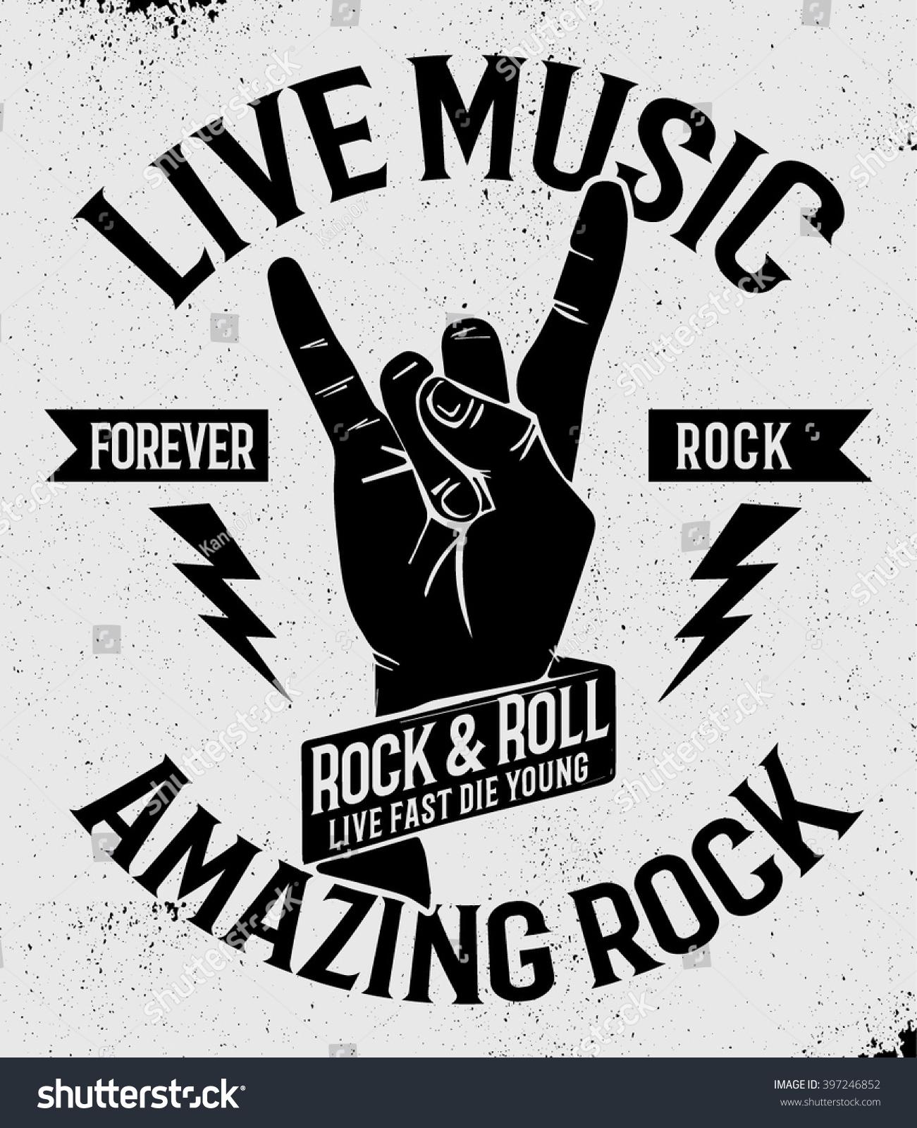Hand Drawn Rock Festival Poster Rock Stock Vector