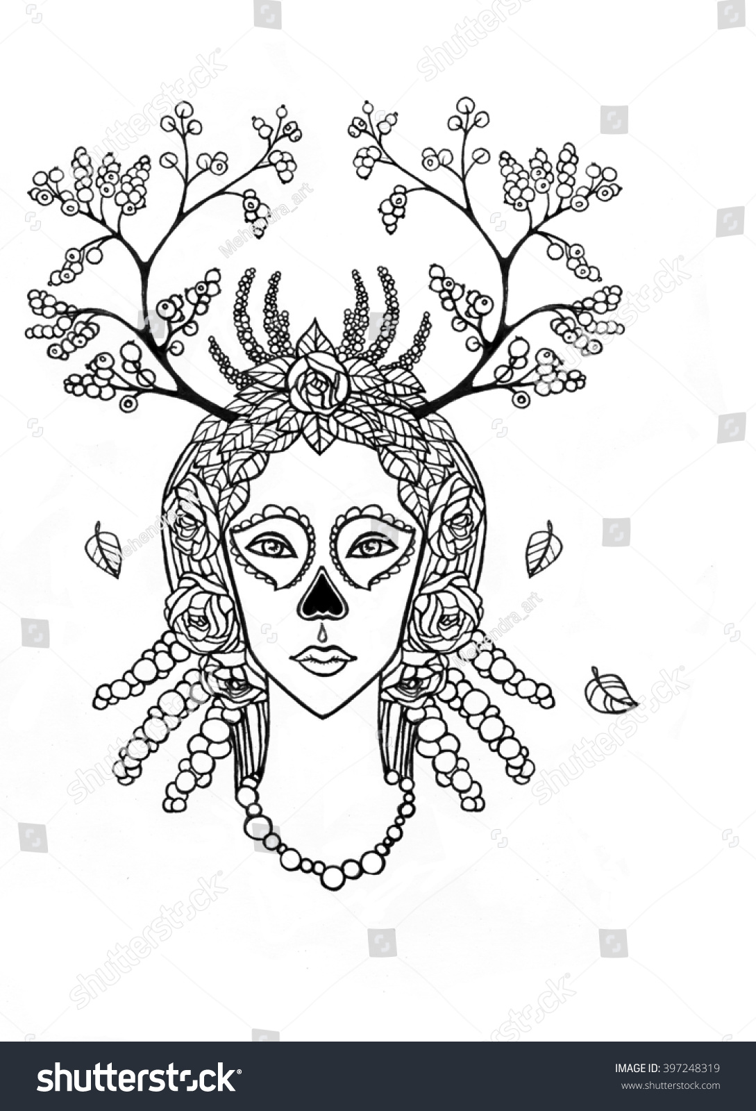 fantastic shaman woman in her magic clothes the linear drawing isolated on a white background vector illustration be used for coloring book ez canvas