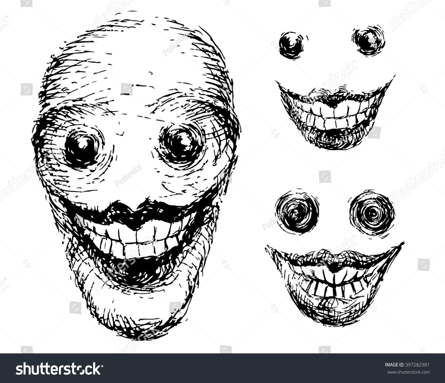 Crazy Scary Face Grotesque Black White Stock Vector 397282981 - Shutterstock