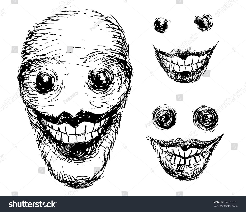 crazy scary face grotesque black white stock vector hd (royalty free
