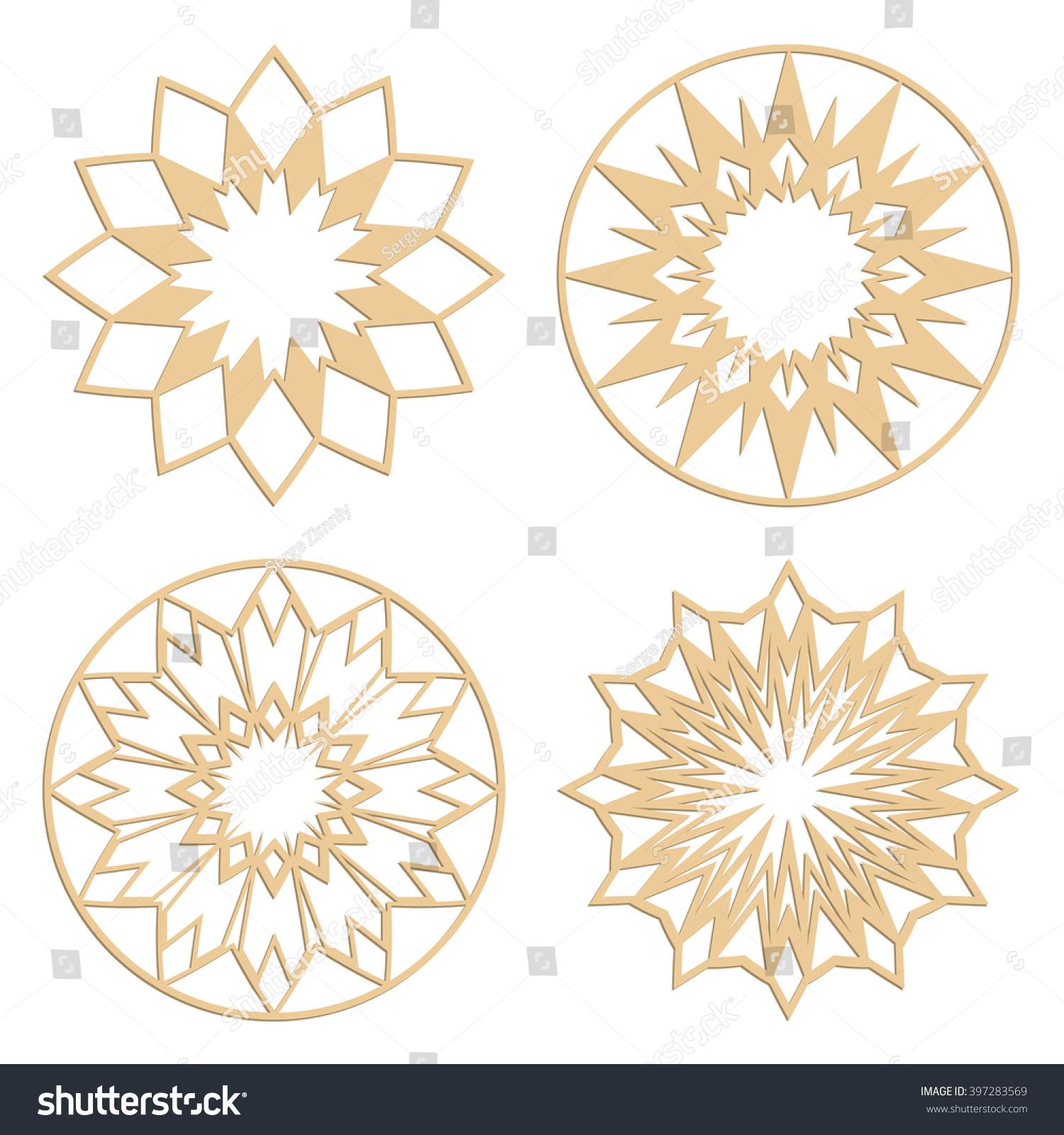 diy laser cutting patterns islamic die stock vector 397283569