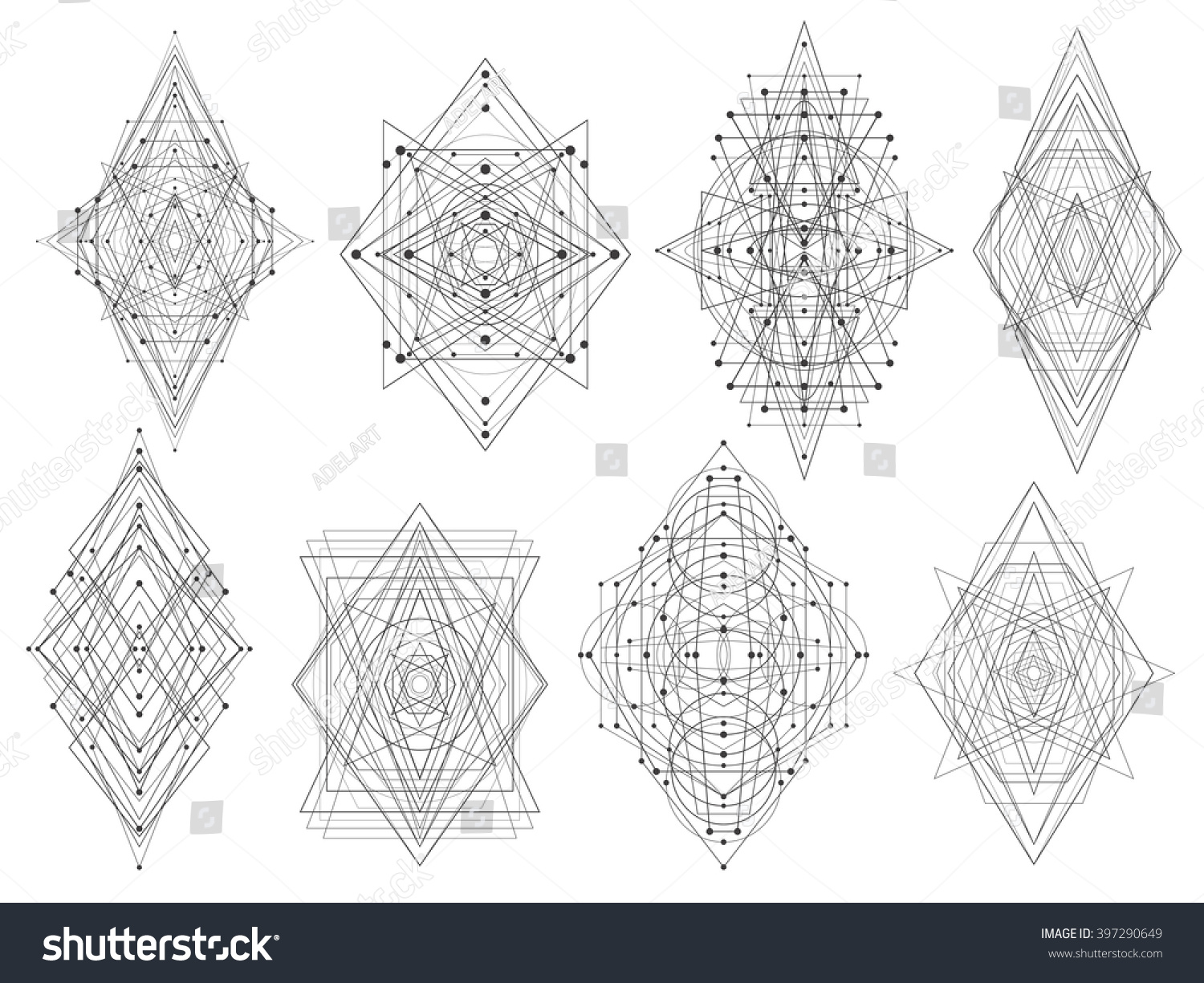 geometric shapes trendy figures tribal triangles stock vector