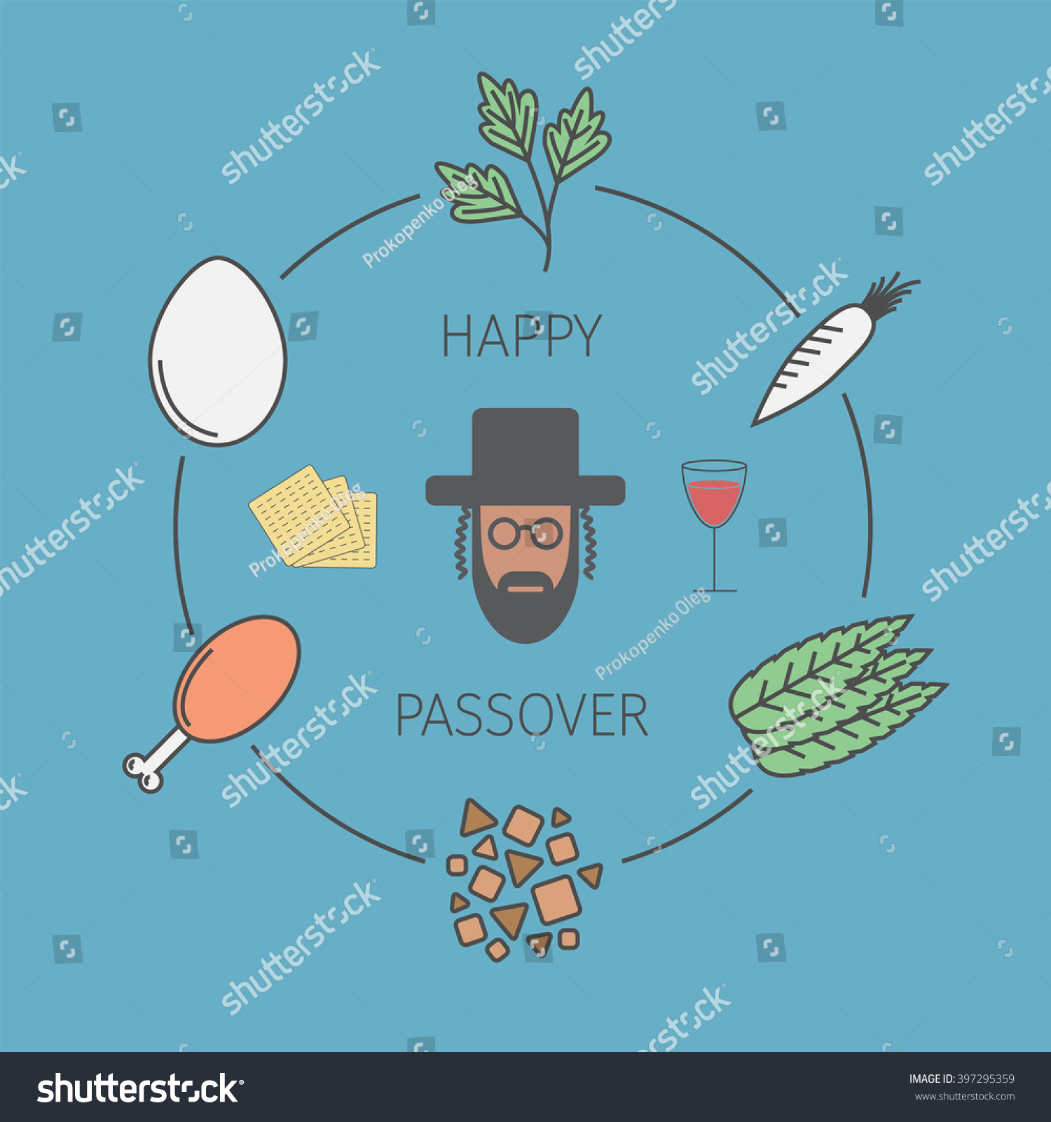 Passover seder plate line icons vector stock vector 397295359 passover seder plate with line icons vector illustration buycottarizona