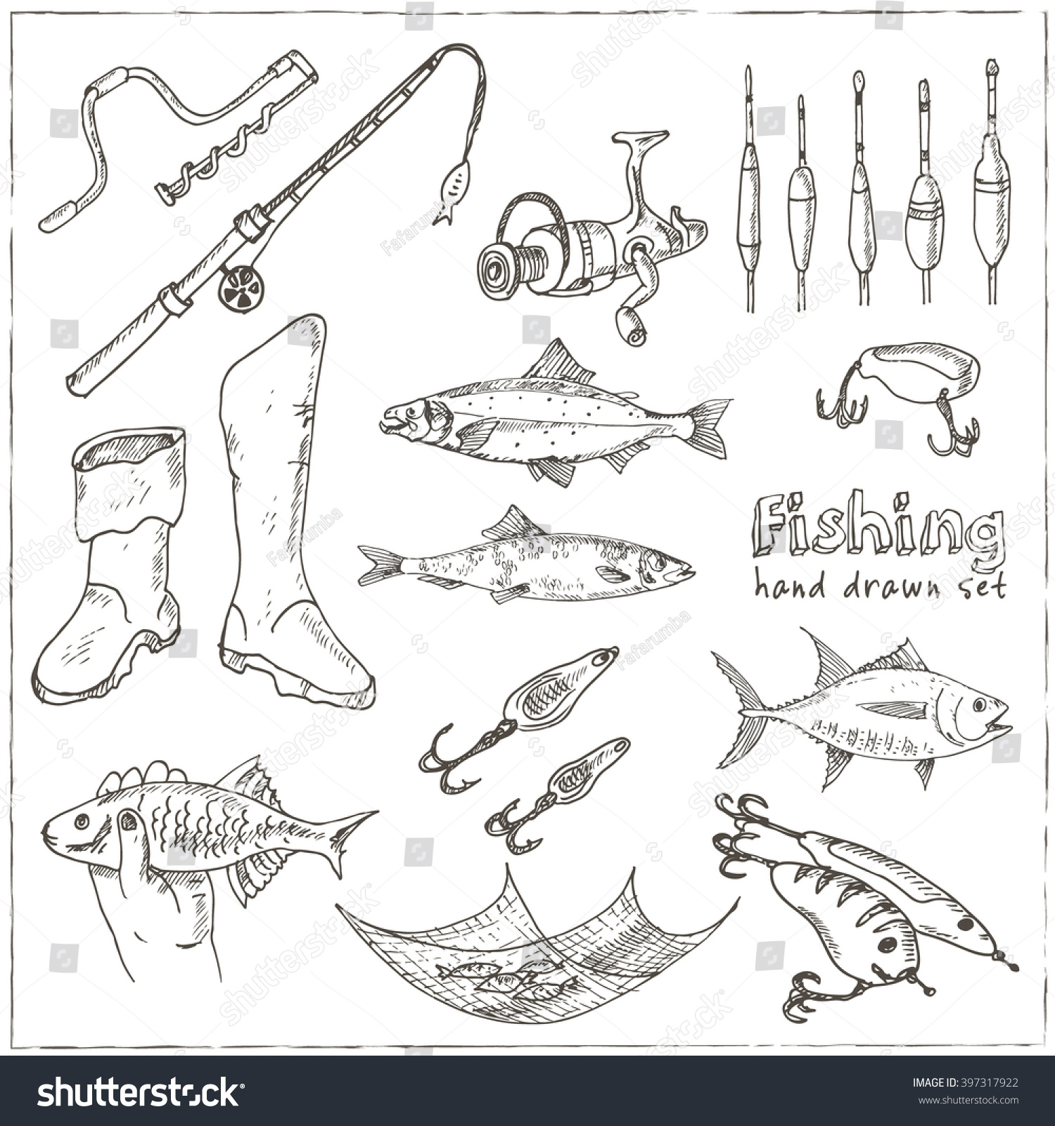 fishing tackle tools sketches handdrawing fishing stock vector, Hard Baits