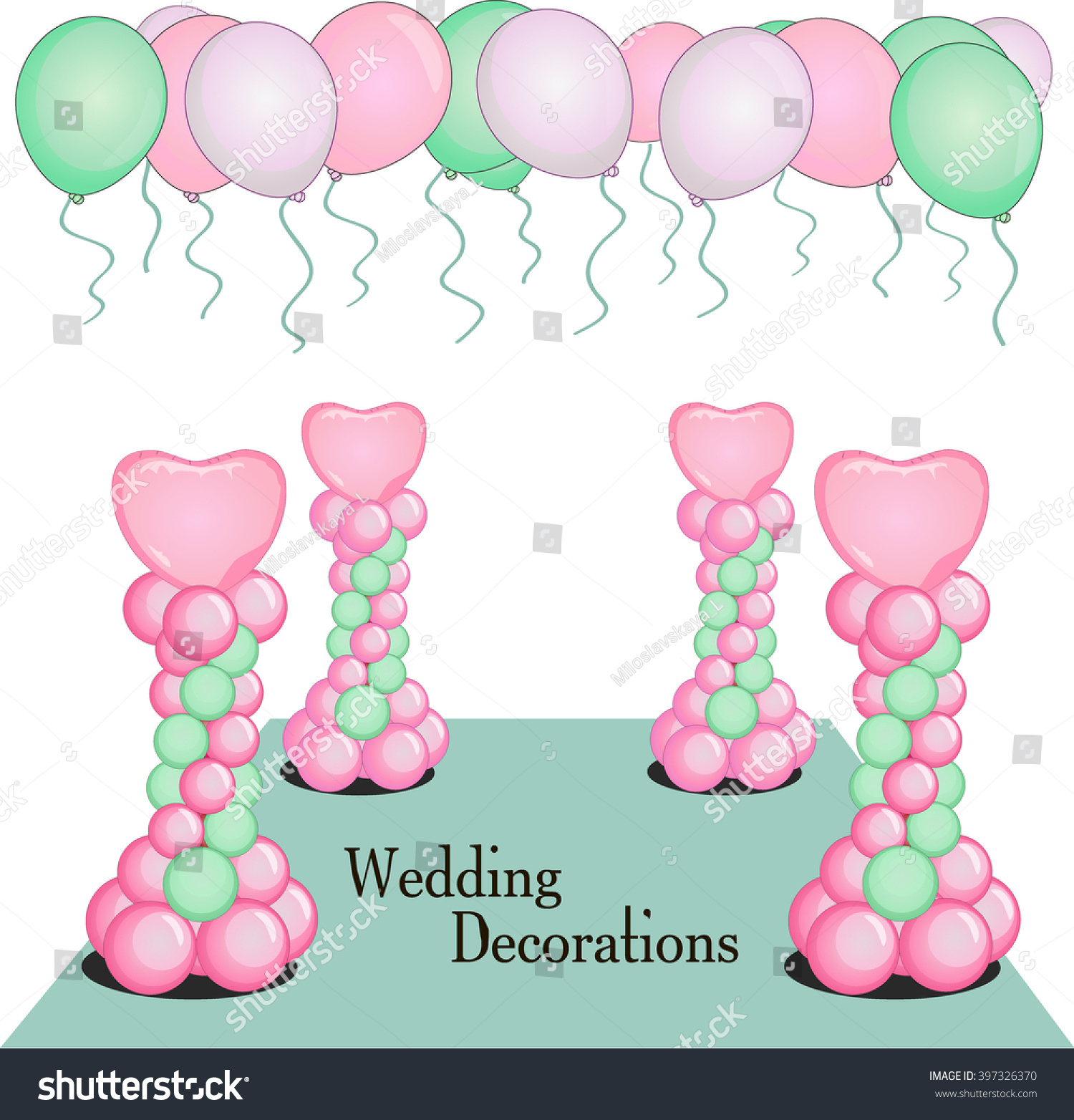 Event Decoration Balloon Wedding Party Birthday Stock Vector (2018 ...