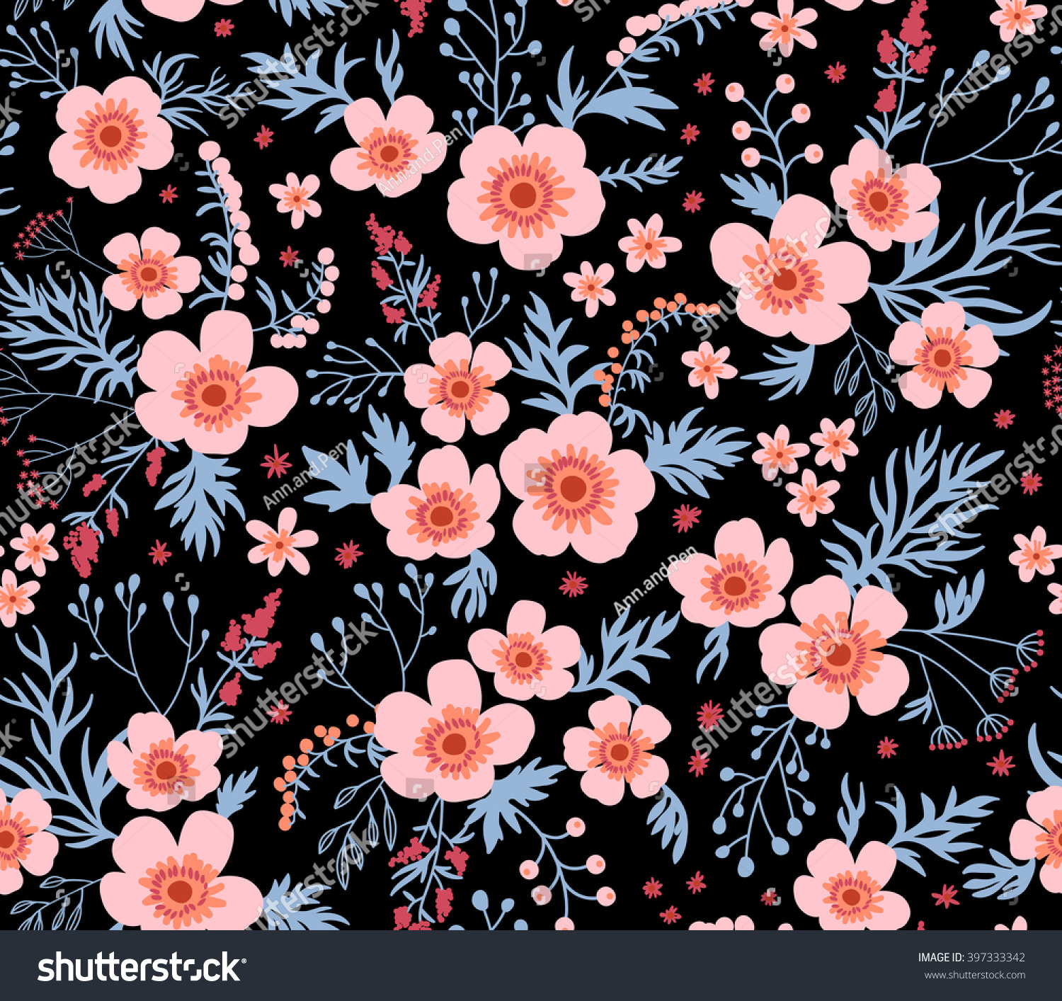 Beautiful Pattern Small Flower Small Pink Stock Vector Royalty
