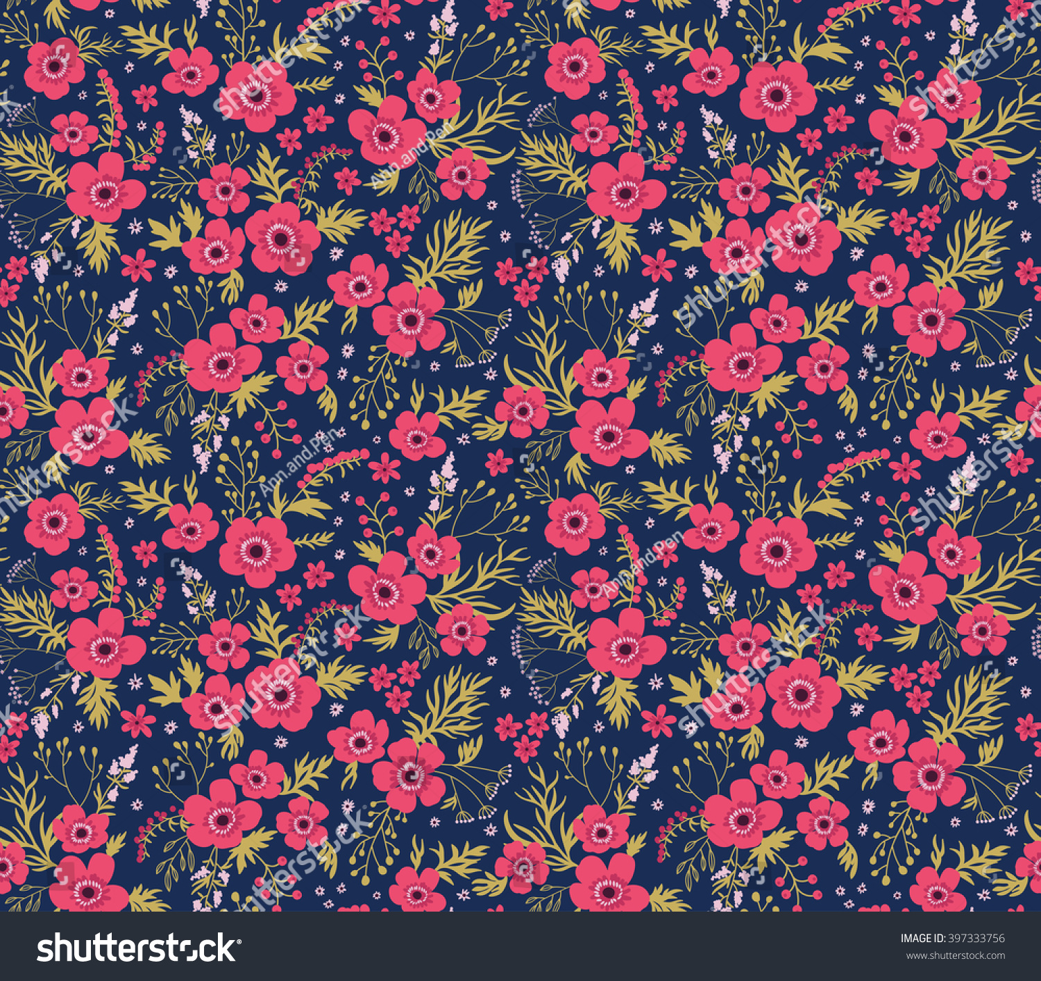 Cute Pattern Small Flower Small Pink Stock Vector