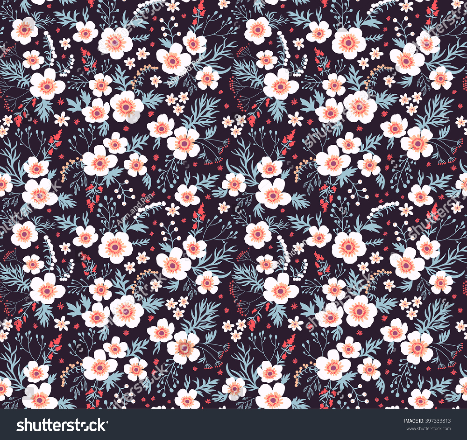 Cute Pattern Small Flower Small White Stock Vector