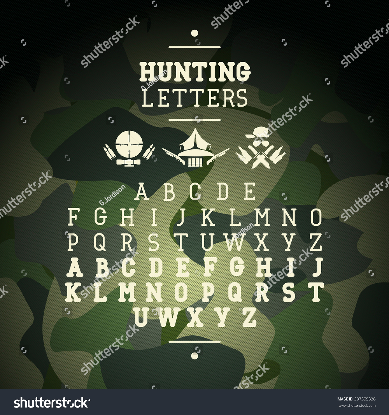 Lettering Serif Graphics Hunting Camouflage Background Stock