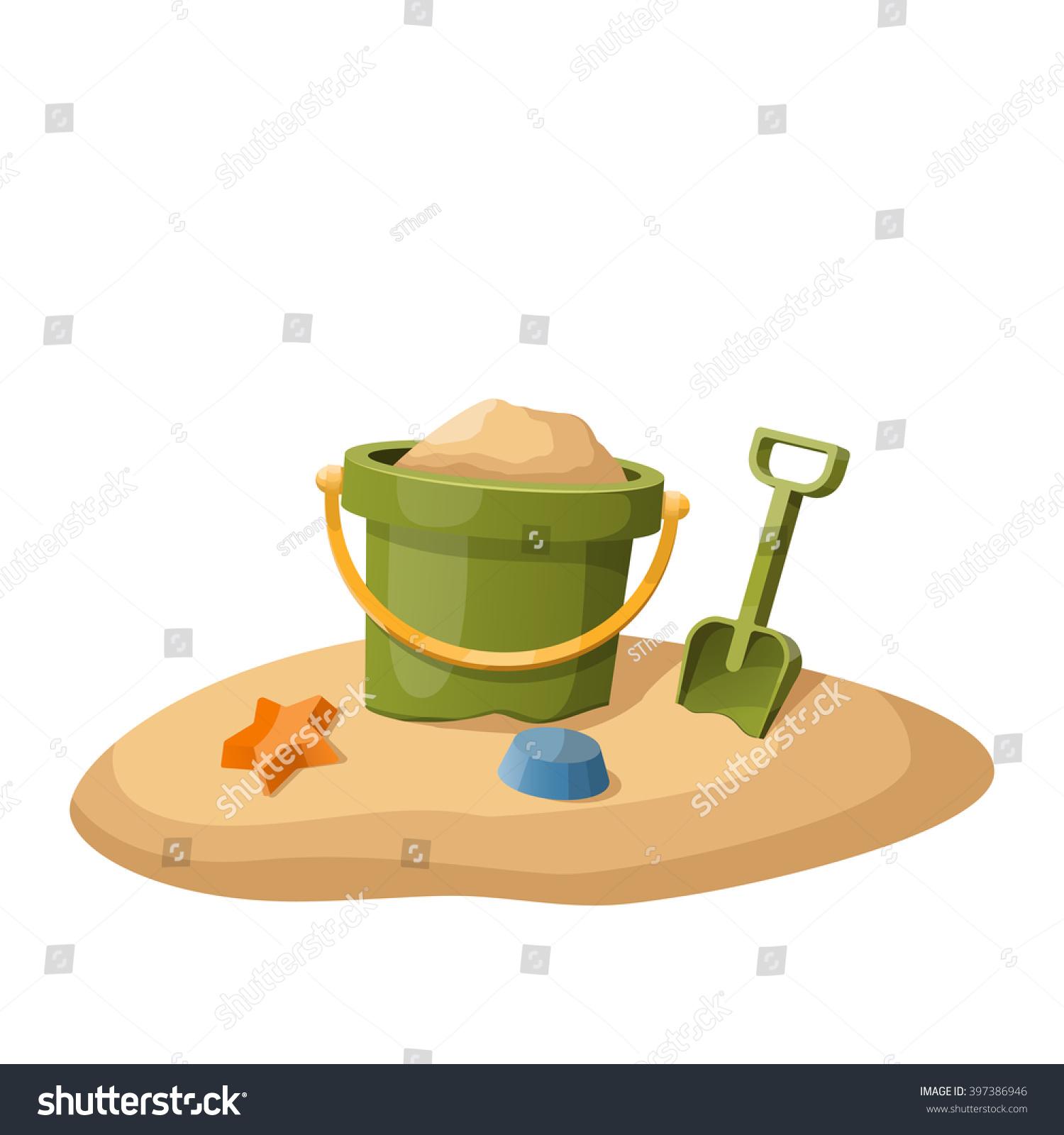 toy bucket shovel sand isolated on stock vector 397386946