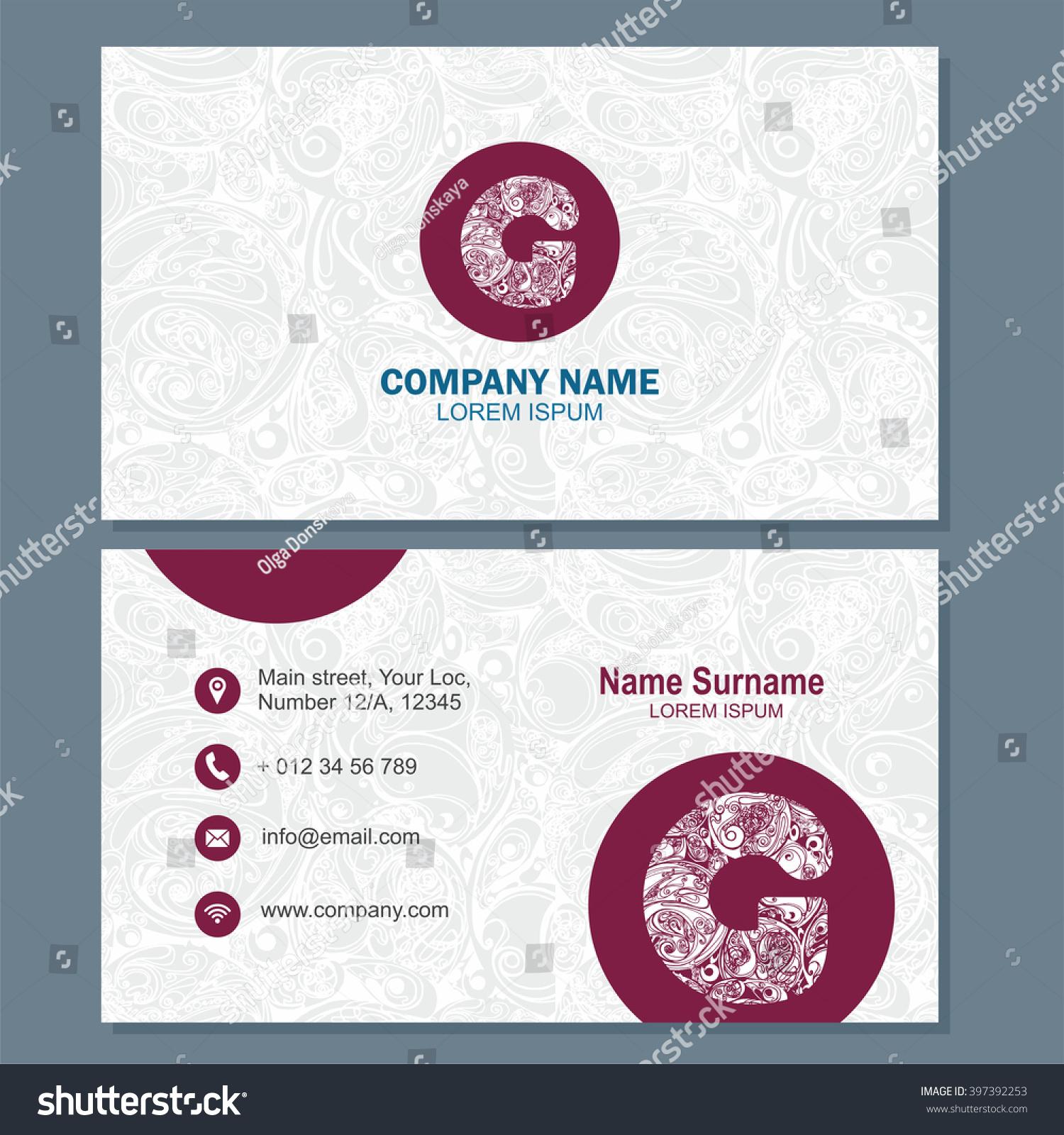 Business Card Visiting Card Template Logo Stock Vector