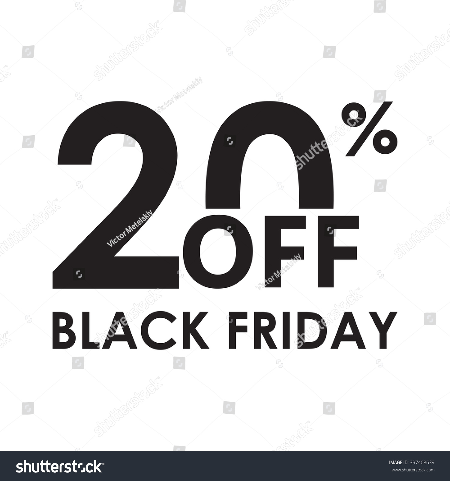 20 Off Black Friday Design Template Stock Vector Royalty Free 397408639