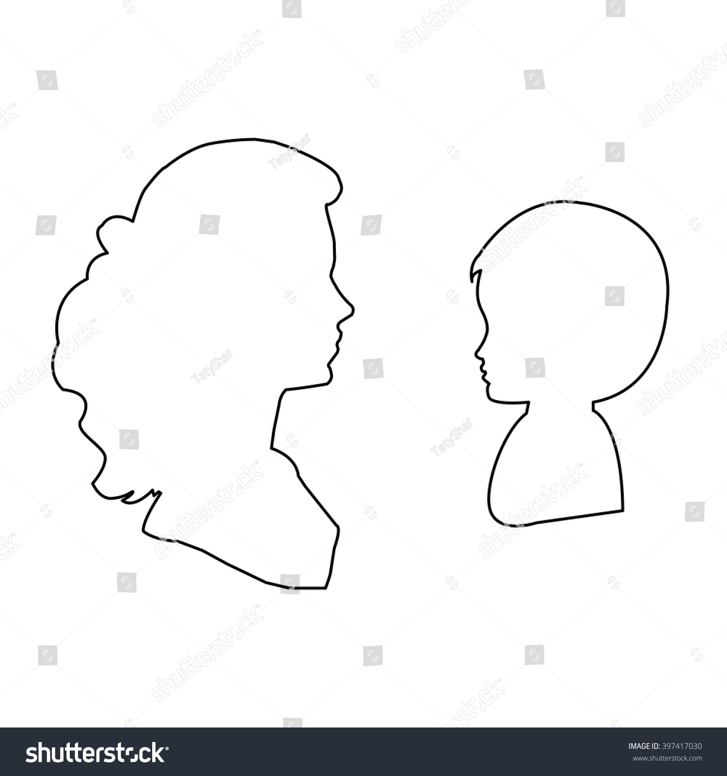 Child Head Outline outline silhouette child head face and woman ...