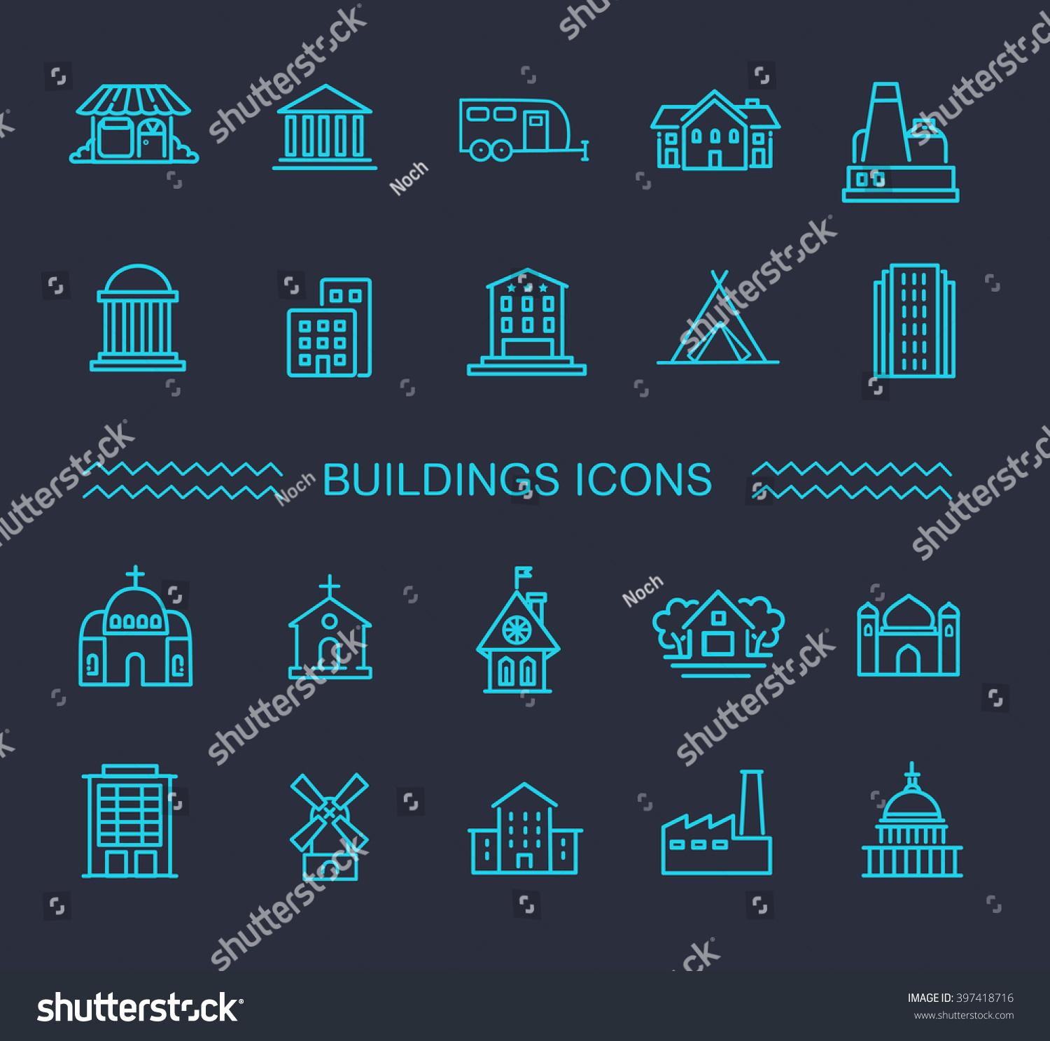 Building Icons Set Government Stock Vector (Royalty Free) 397418716
