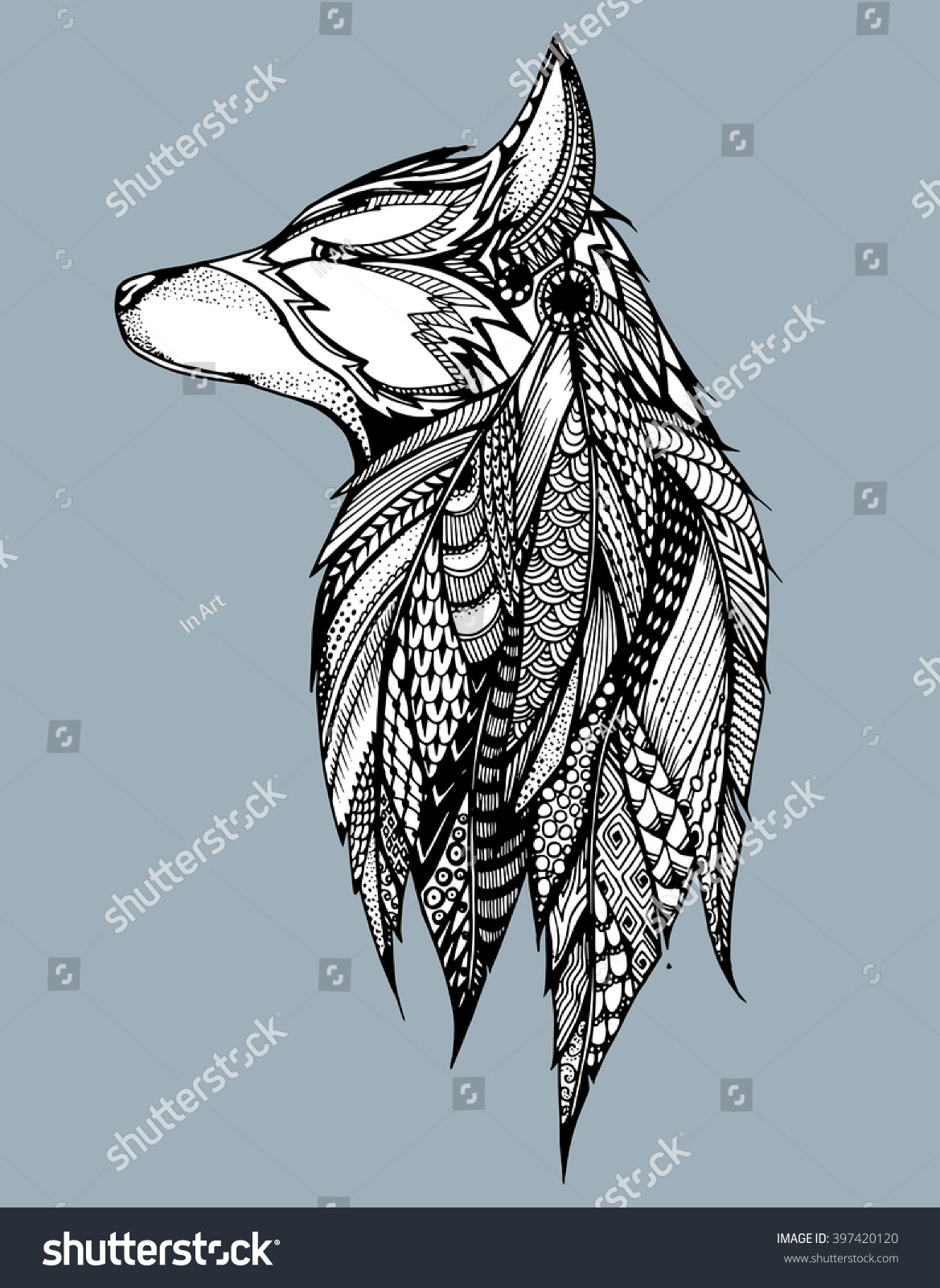 profile wolf howling wolf portrait wolf stock vector 397420120
