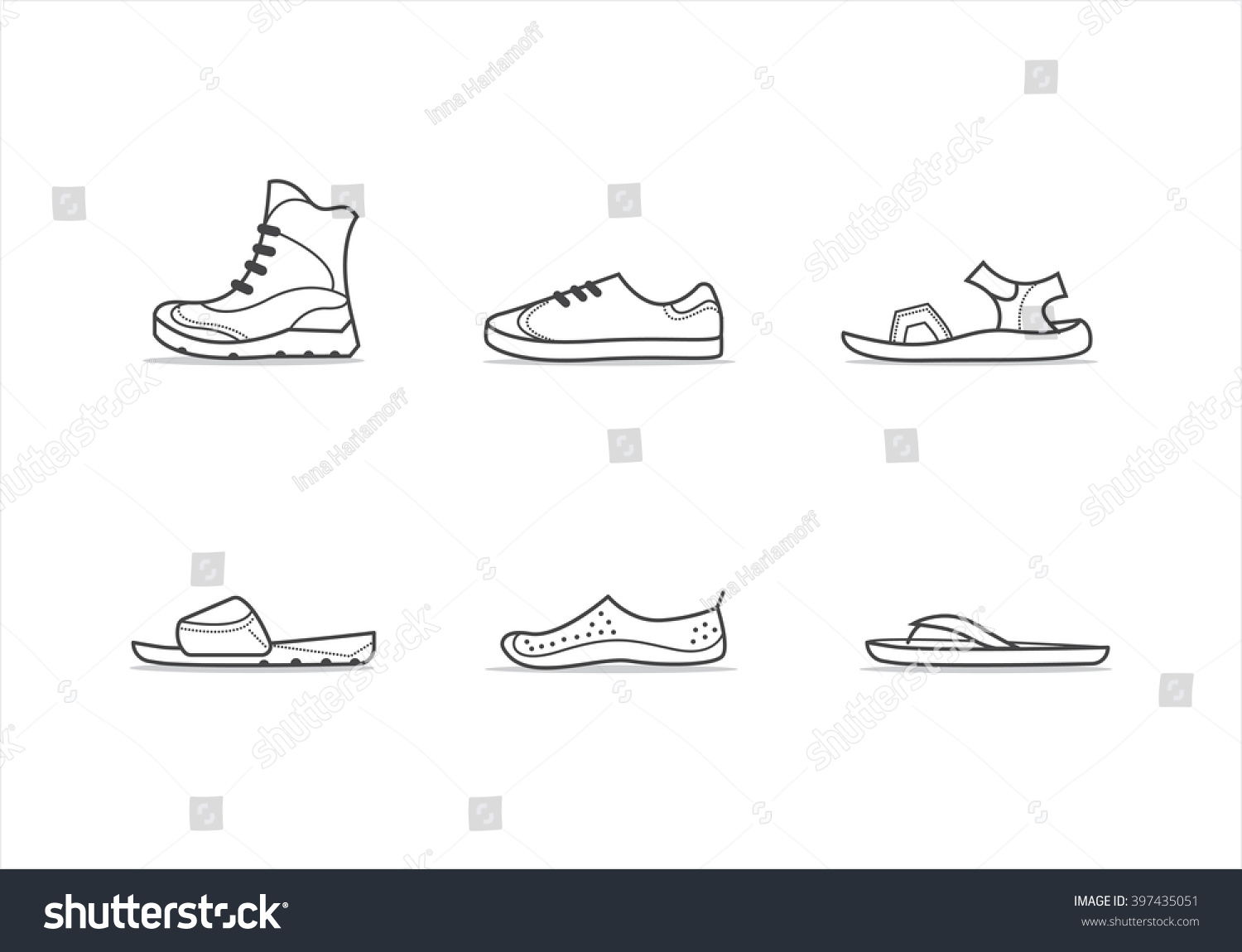 Set Different Types Footwear Boots Sneakers Stock Vector
