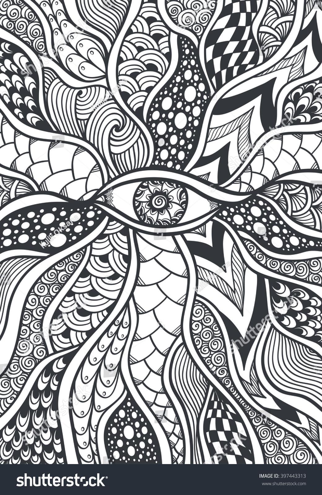 zendoodle zentangle texture pattern eye black stock vector