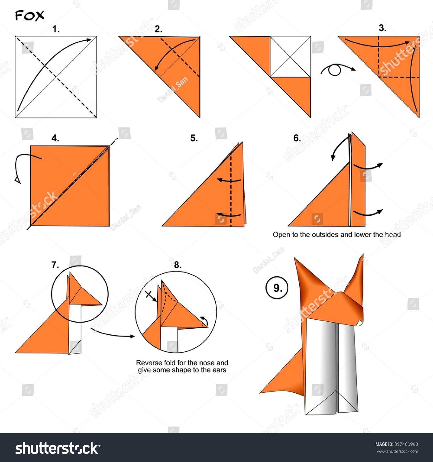 Royalty Free Stock Illustration Of Origami Animal Traditional Fox Diagram Instructions Step By Paper Folding Art