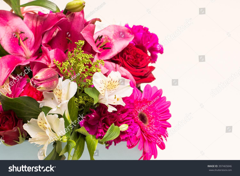 Beautiful Design Different Type Flowers Decoration Stock Photo