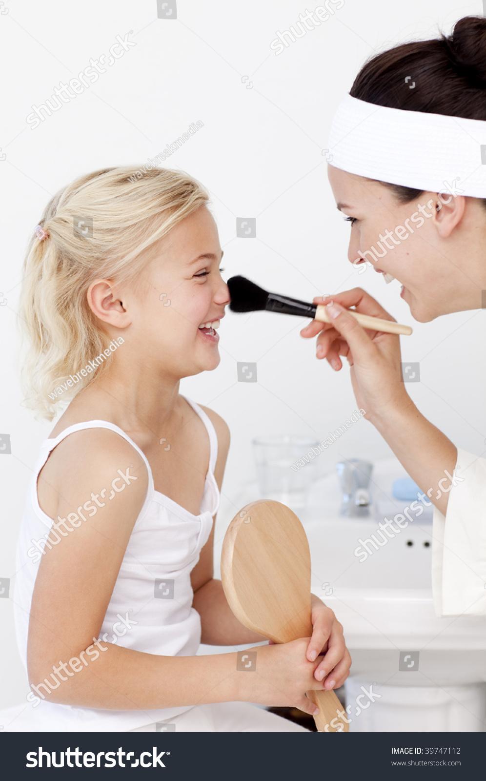 Daughter Mother Putting Makeup Bathroom Stock Photo