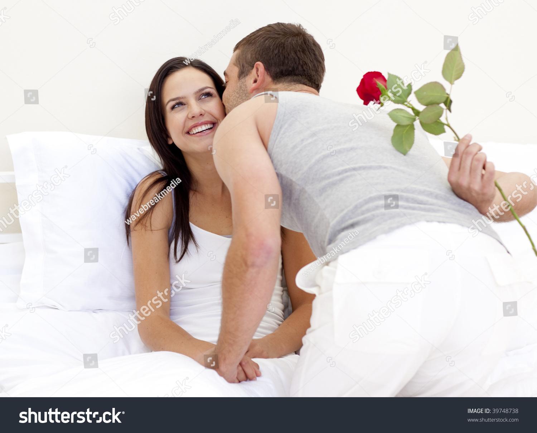 Husband Giving Rose Kiss His Beautiful Stock Photo Edit Now