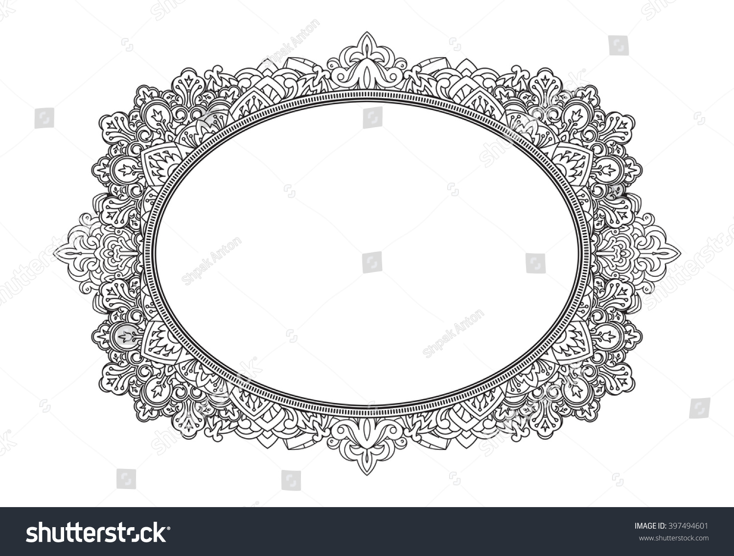 Rich Decorated Oval Frame Pattern. Vector Decorative
