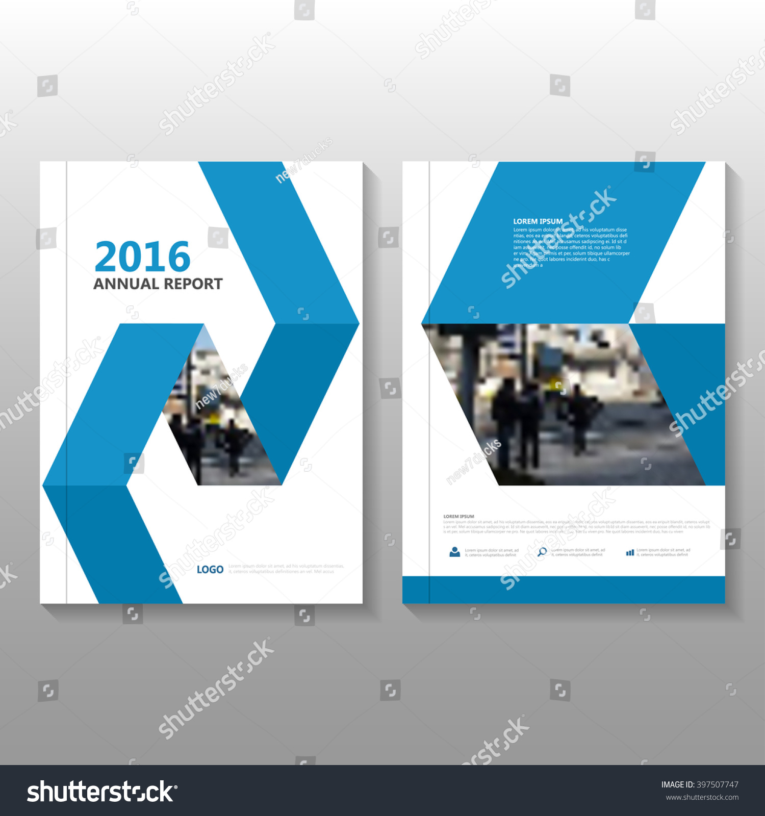 Annual Report Book Cover Design : Blue vector annual report leaflet brochure stock