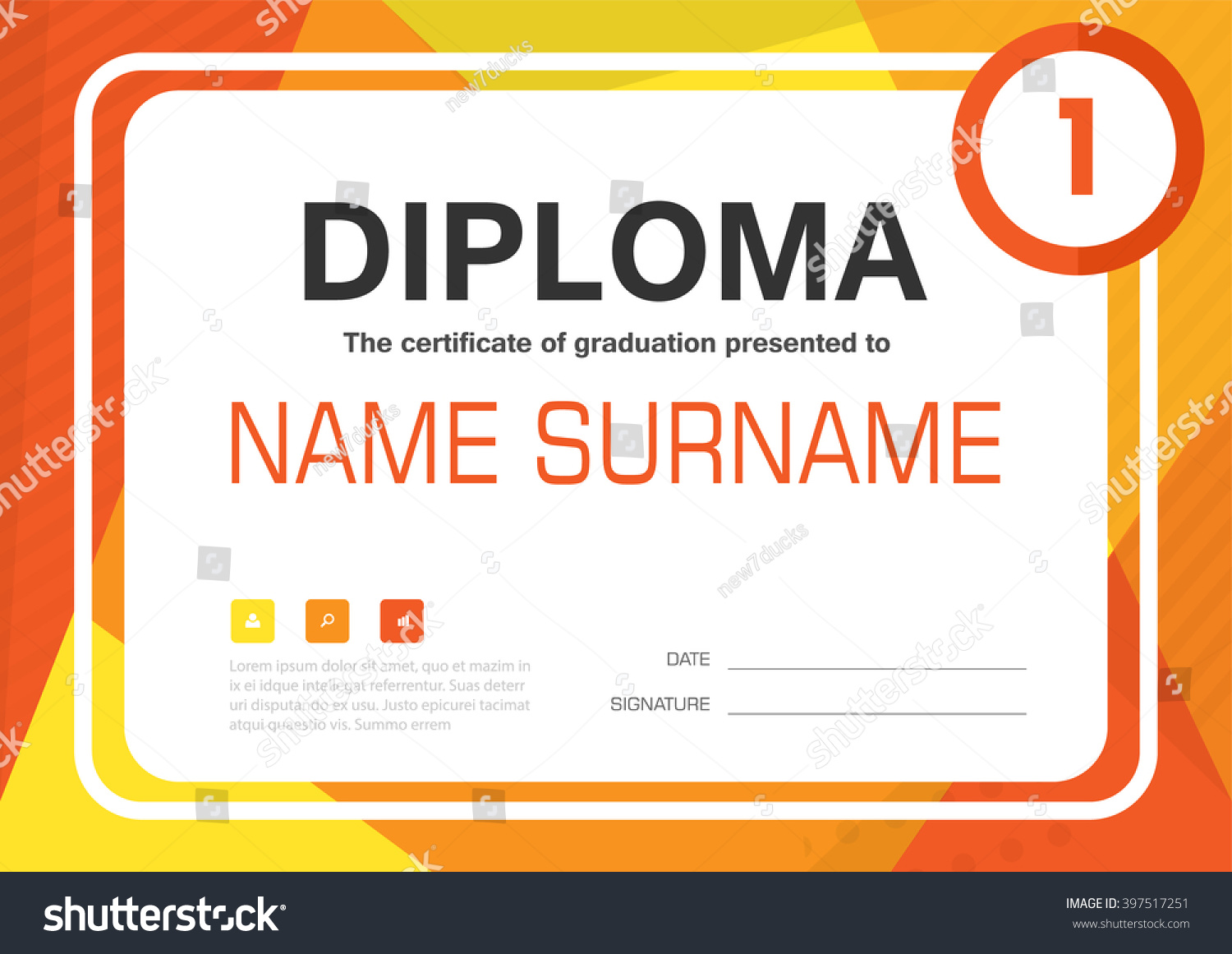 Orange yellow A4 Diploma certificate background template layout design