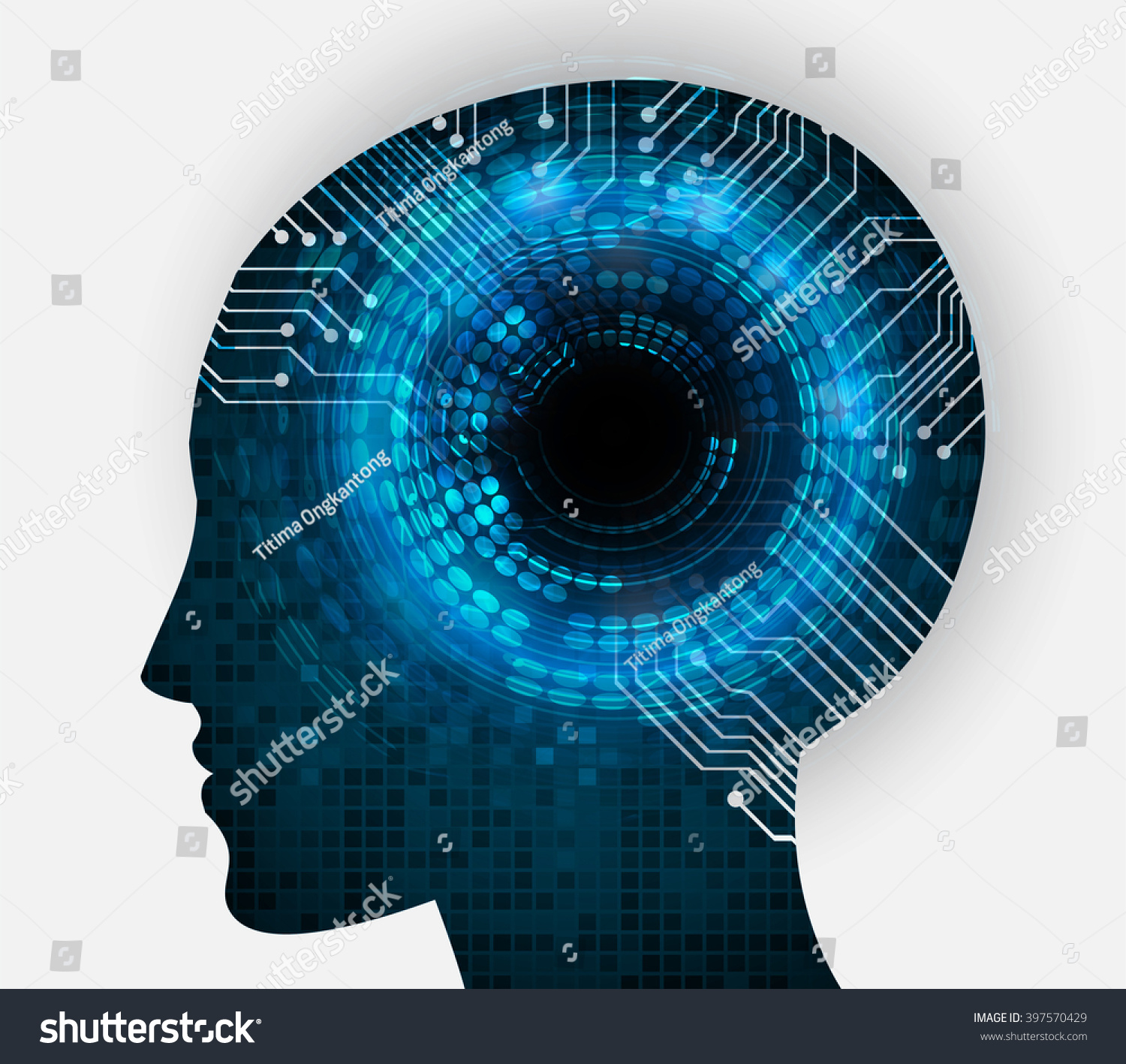 Graphic Industrial Circuit Board Black Background Neon Human Head Cpu Blue Stock Illustration 397570429 Pixel Abstract Technology