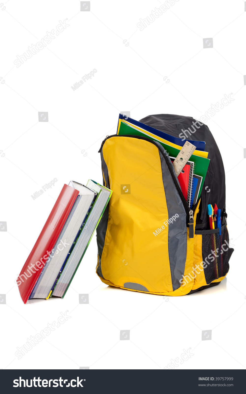 Yellow Black Backpack School Supplies Including Stock ...