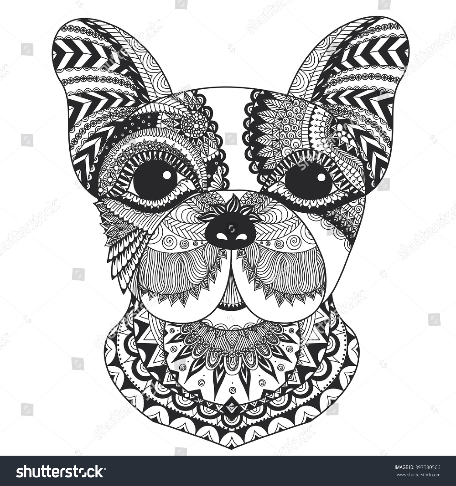 The coloring book clean - French Bulldog Zentangle Styled With Clean Lines For Coloring Book For Anti Stress T