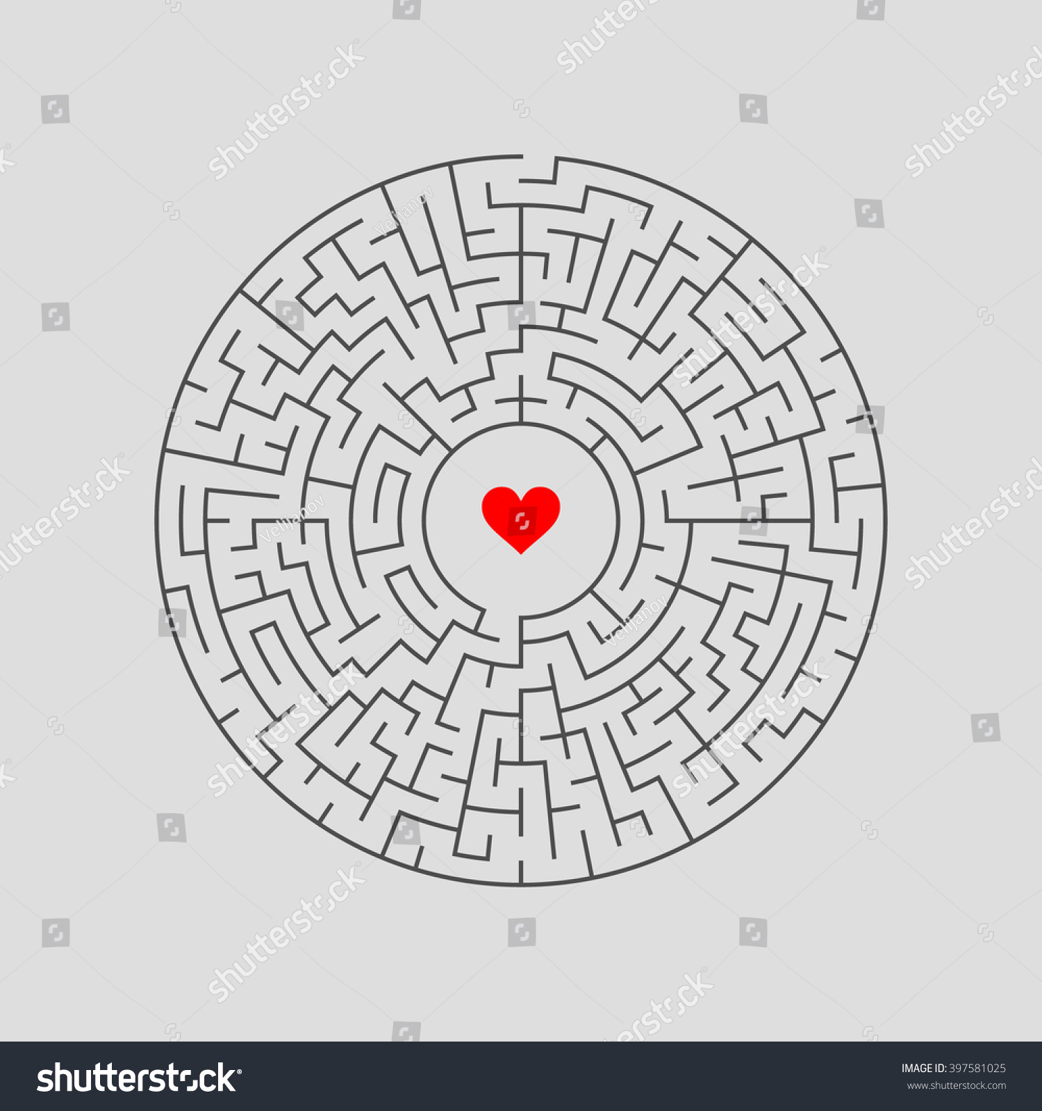 maze labyrinth answer vector illustration round stock-vektorgrafik, Gartengerate ideen